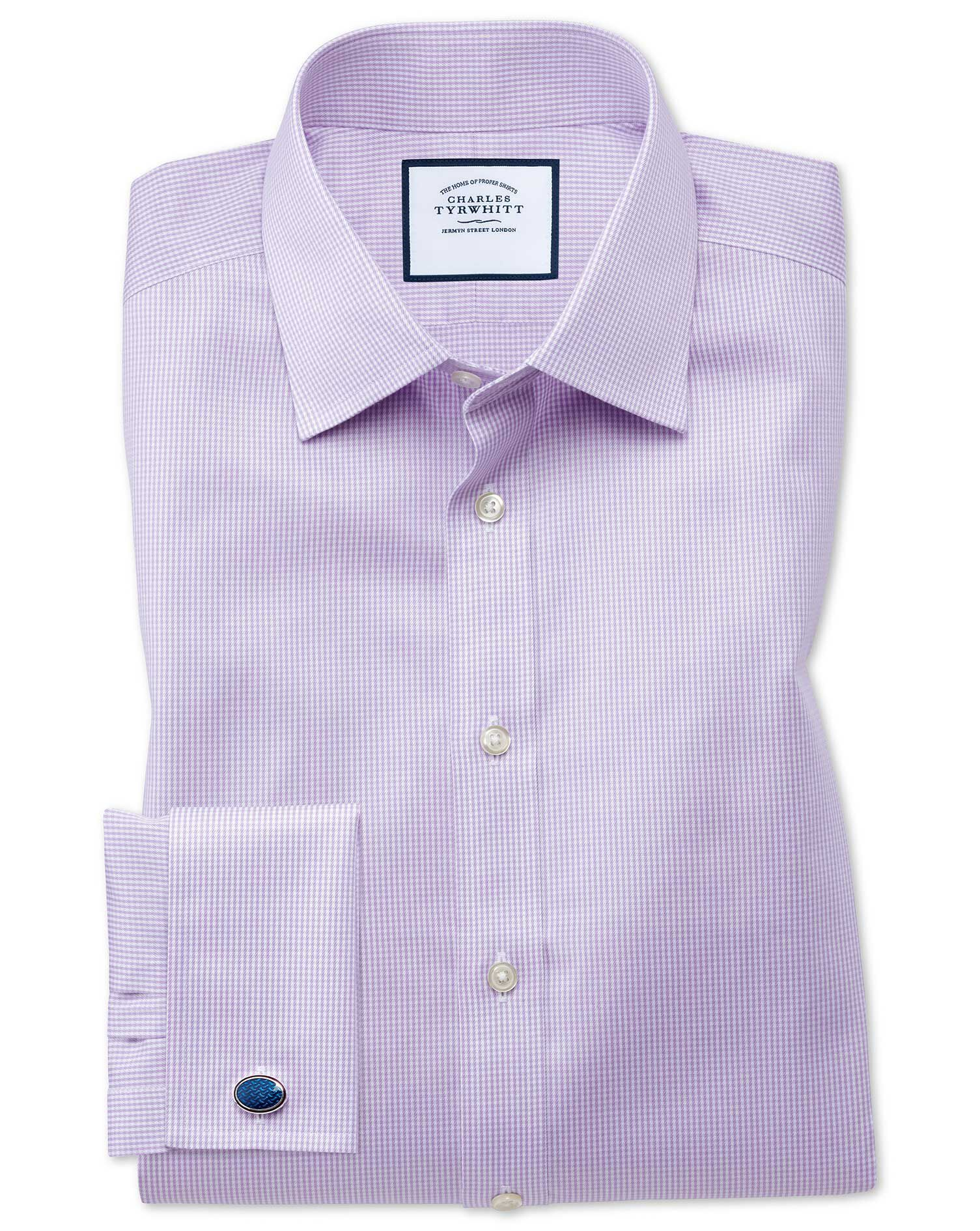 Slim Fit Non-Iron Puppytooth Lilac Cotton Formal Shirt Single Cuff Size 17.5/36 by Charles Tyrwhitt