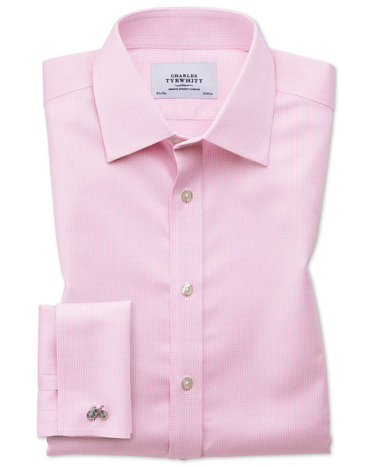 Slim Fit Non-Iron Puppytooth Light Pink Cotton Formal Shirt Single Cuff Size 15.5/36 by Charles Tyrw