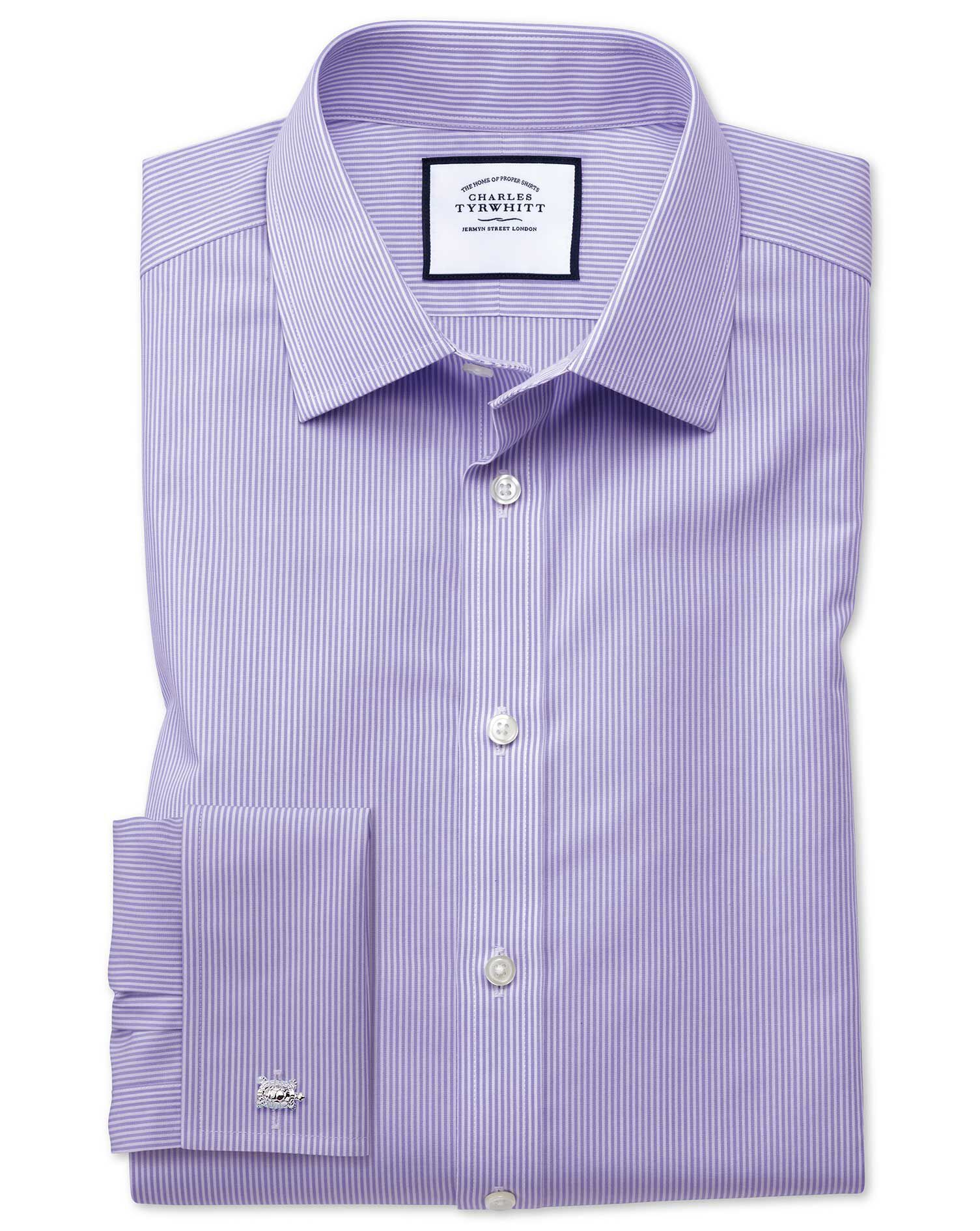Slim Fit Non-Iron Bengal Stripe Lilac Cotton Formal Shirt Single Cuff Size 15/34 by Charles Tyrwhitt