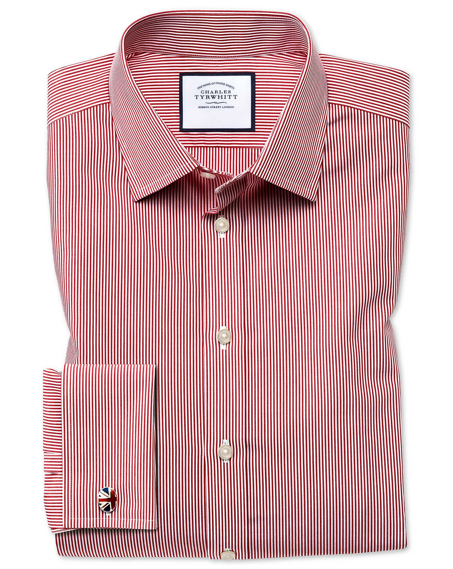 Slim Fit Non-Iron Bengal Stripe Red Cotton Formal Shirt Double Cuff Size 16.5/34 by Charles Tyrwhitt