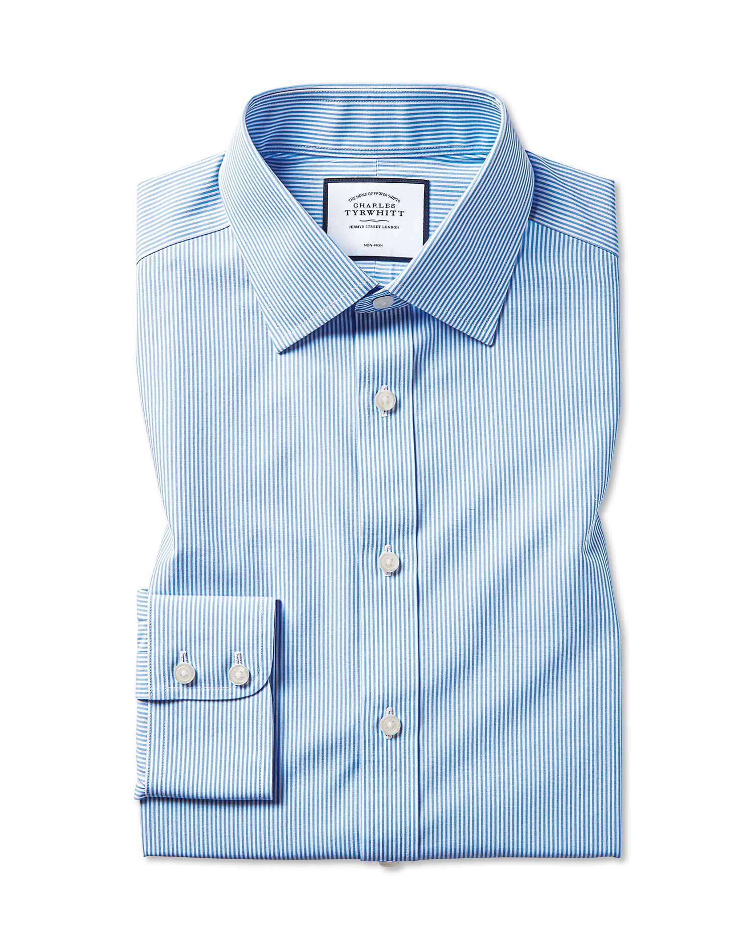 Slim Fit Non-Iron Bengal Stripe Sky Blue Cotton Formal Shirt Double Cuff Size 15.5/32 by Charles Tyr