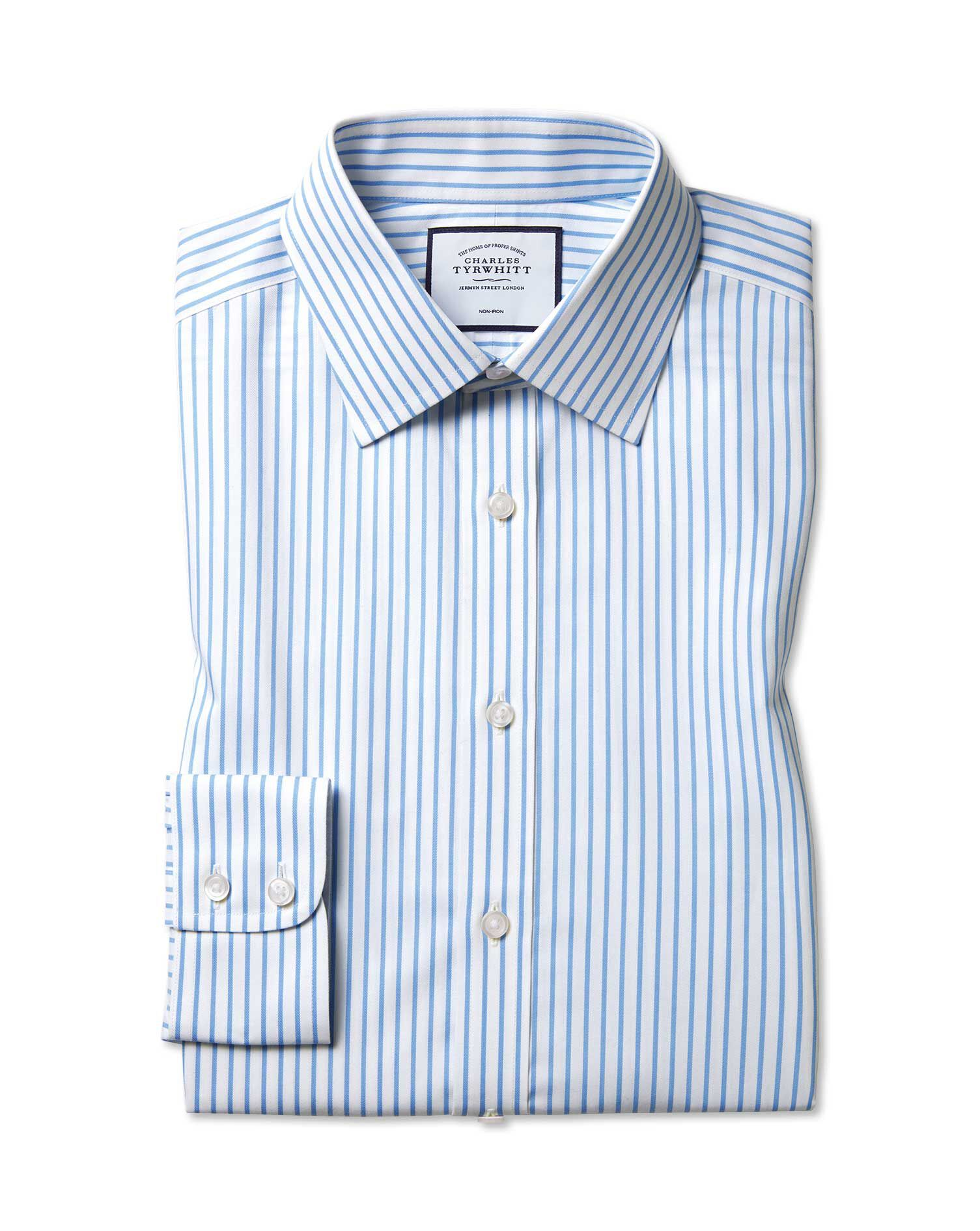 Slim Fit Non-Iron Twill White and Sky Blue Stripe Cotton Formal Shirt Single Cuff Size 14.5/32 by Ch