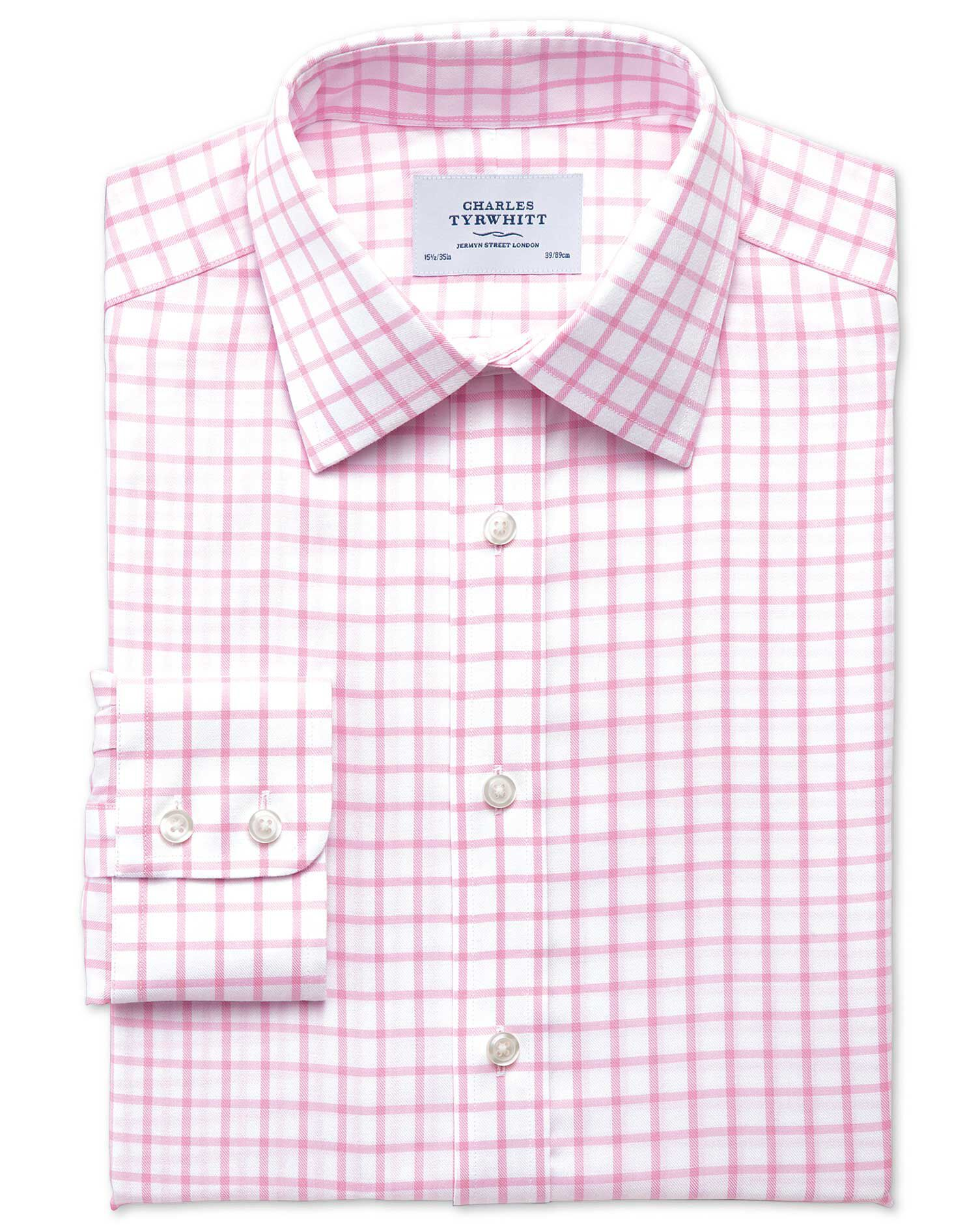 Slim Fit Non-Iron Twill Grid Check Light Pink Cotton Formal Shirt Single Cuff Size 16/36 by Charles