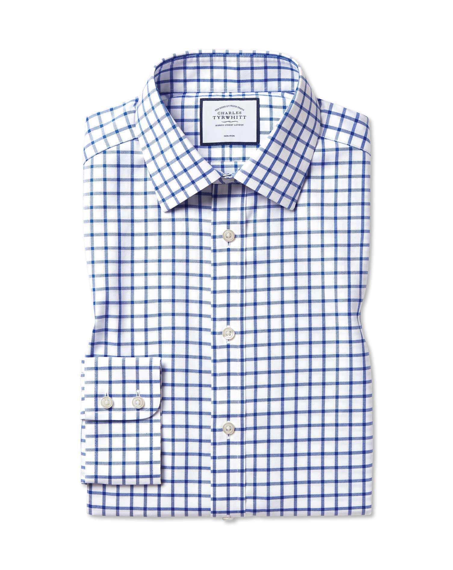 Slim Fit Non-Iron Twill Grid Check Royal Blue Cotton Formal Shirt Double Cuff Size 17/35 by Charles