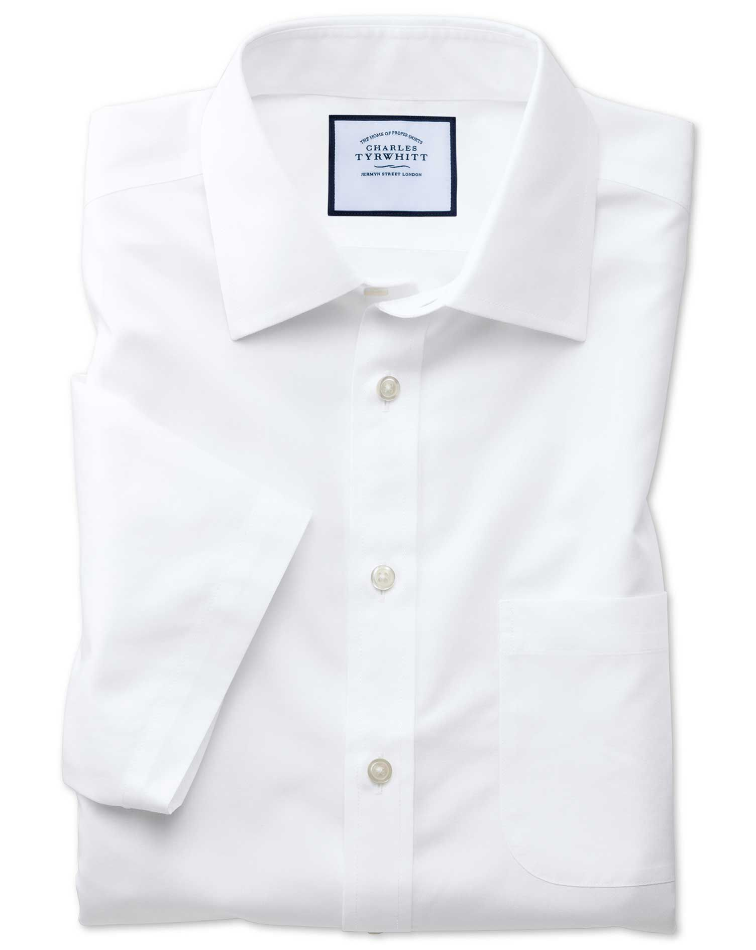 Slim Fit Non-Iron Poplin Short Sleeve White Cotton Formal Shirt Size 16/Short by Charles Tyrwhitt