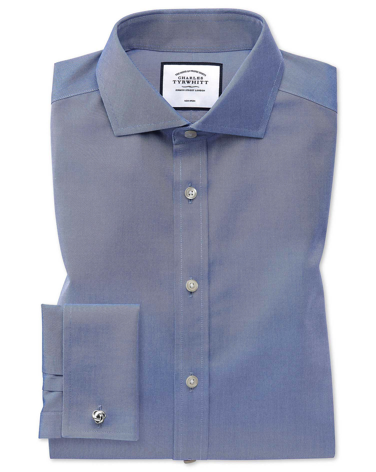 Slim Fit Cutaway Non-Iron Twill Mid Blue Cotton Formal Shirt Single Cuff Size 17/38 by Charles Tyrwh