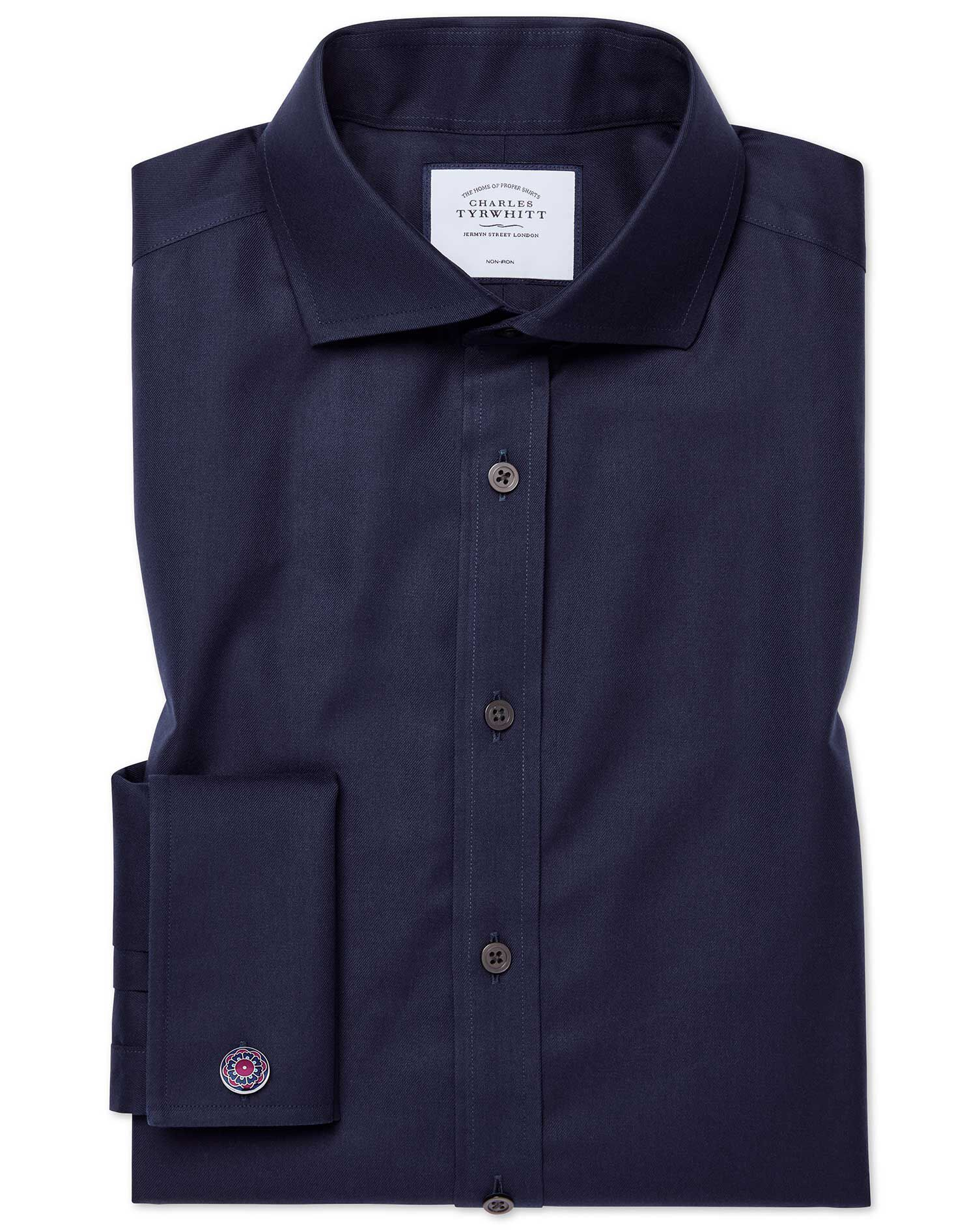 Slim Fit Cutaway Non-Iron Twill Navy Blue Cotton Formal Shirt Double Cuff Size 16/33 by Charles Tyrw