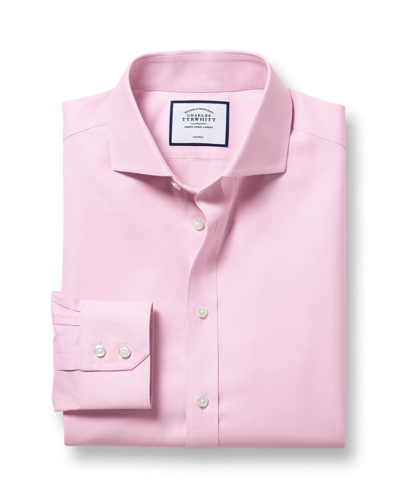 Slim Fit Cutaway Non-Iron Twill Pink Cotton Formal Shirt Double Cuff Size 16/38 by Charles Tyrwhitt
