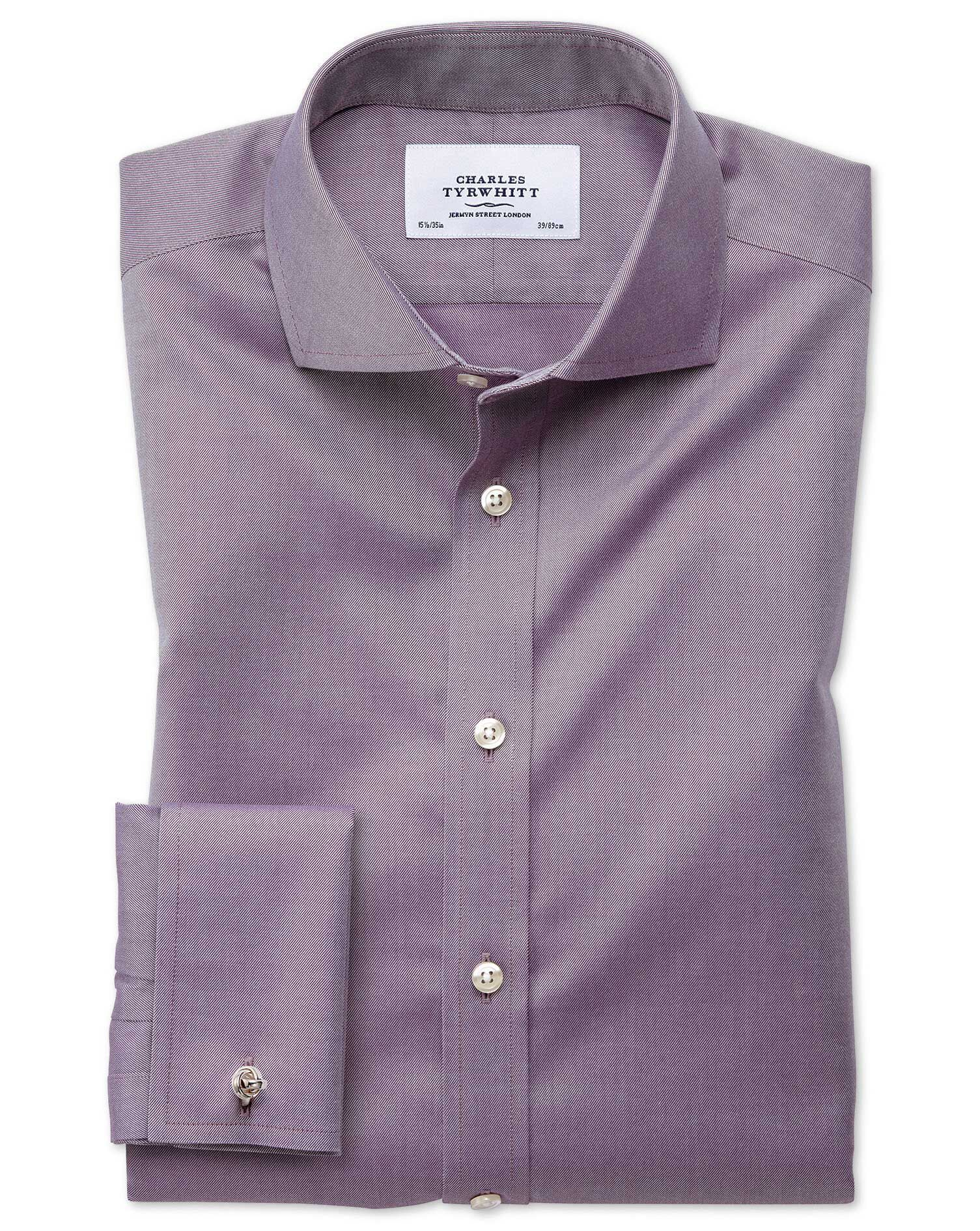 Extra Slim Fit Cutaway Non-Iron Twill Dark Purple Cotton Formal Shirt Single Cuff Size 15.5/32 by Ch