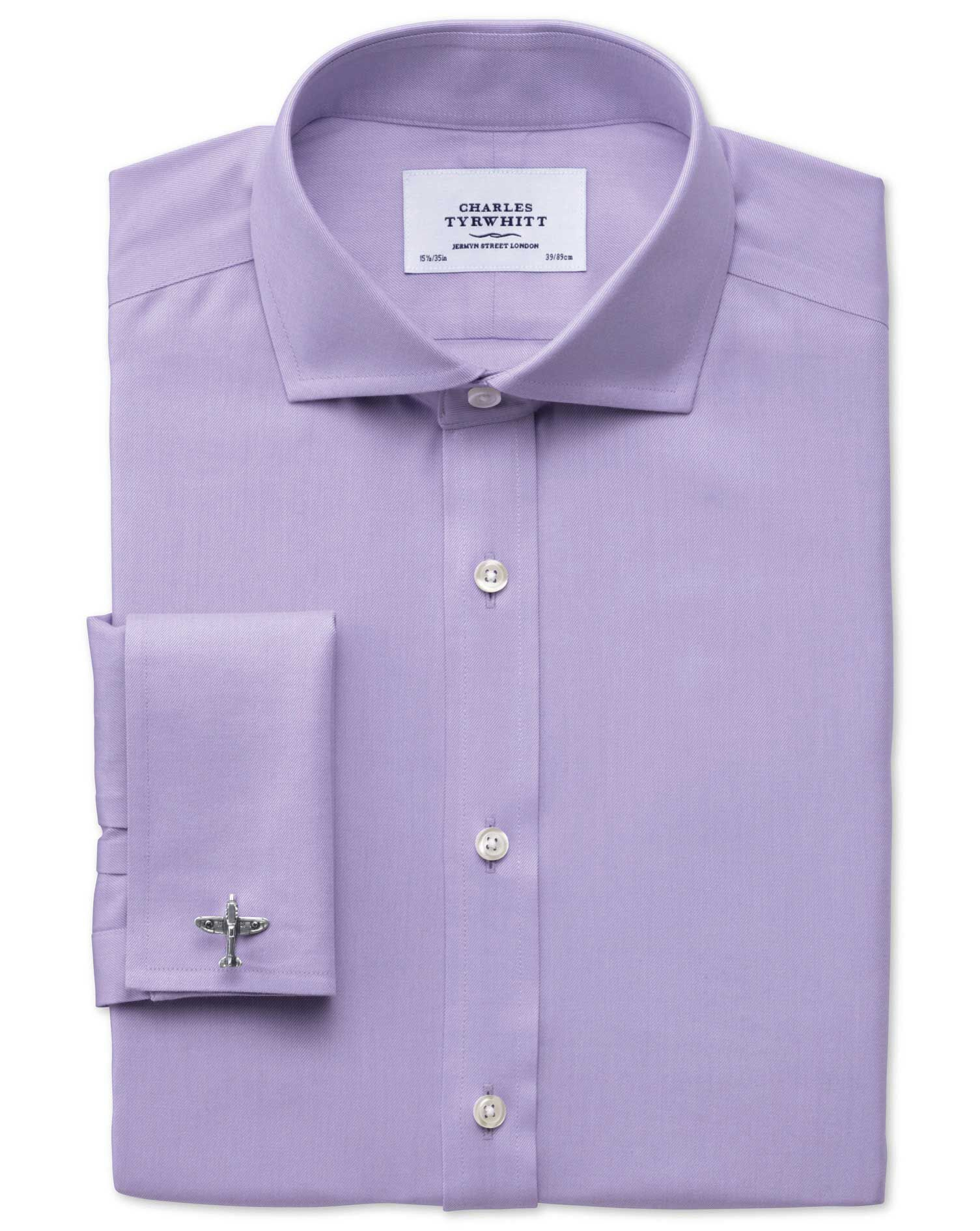 Extra Slim Fit Cutaway Collar Non-Iron Twill Lilac Cotton Formal Shirt Double Cuff Size 15/33 by Cha