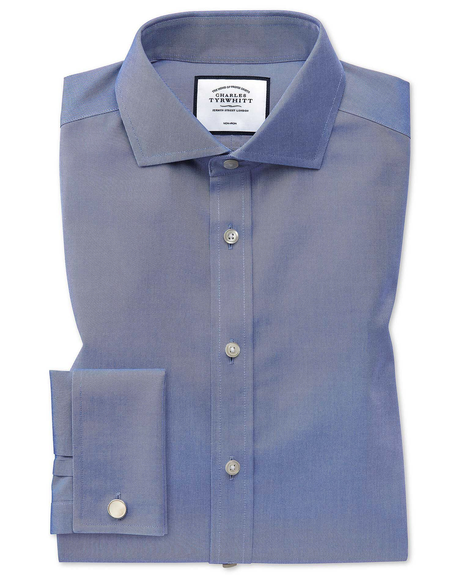 Extra Slim Fit Cutaway Collar Non-Iron Twill Mid Blue Cotton Formal Shirt Single Cuff Size 15.5/33 b