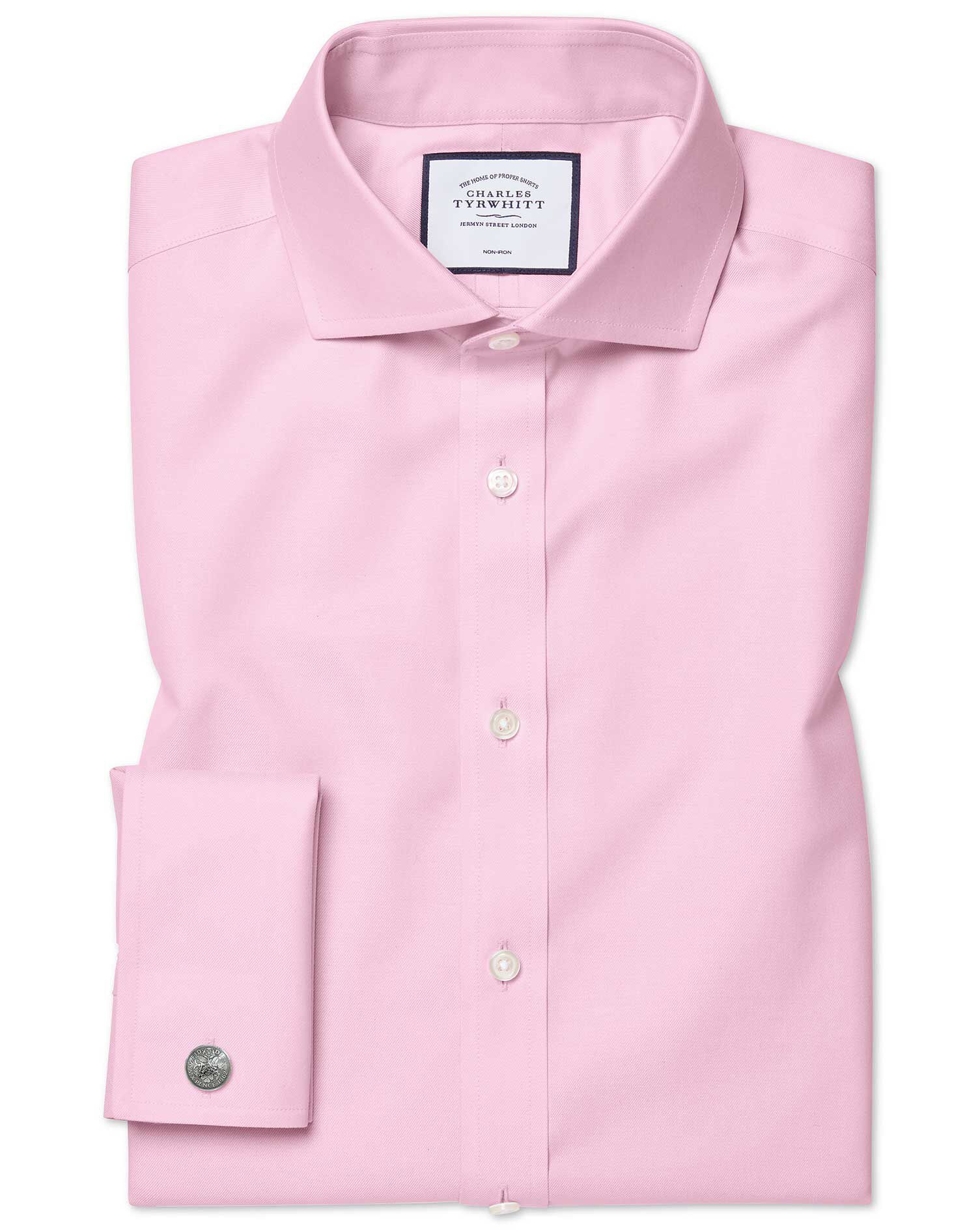 Extra Slim Fit Cutaway Non-Iron Twill Pink Cotton Formal Shirt Single Cuff Size 16.5/33 by Charles T