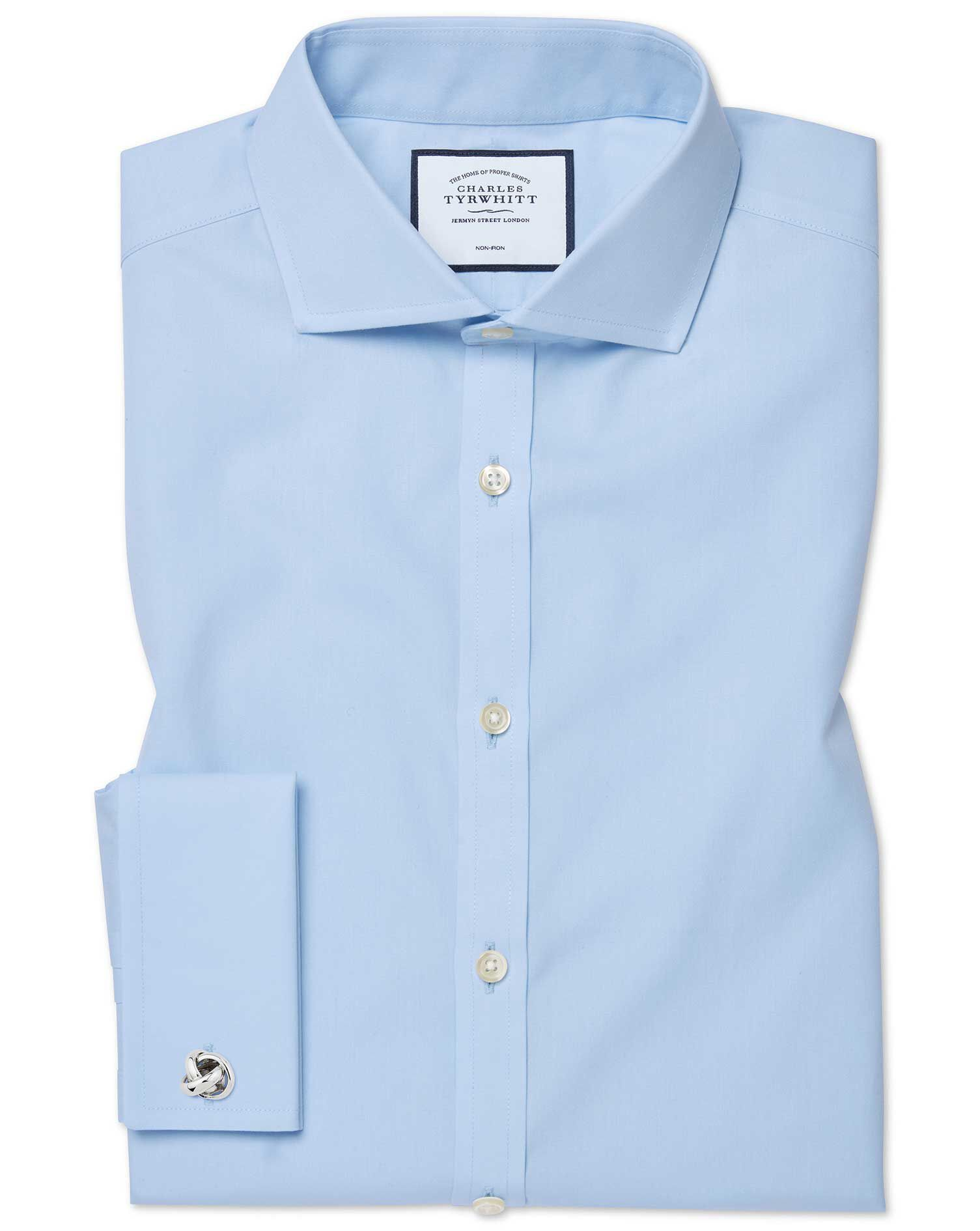 Extra Slim Fit Cutaway Non-Iron Twill Sky Blue Cotton Formal Shirt Single Cuff Size 17.5/35 by Charl