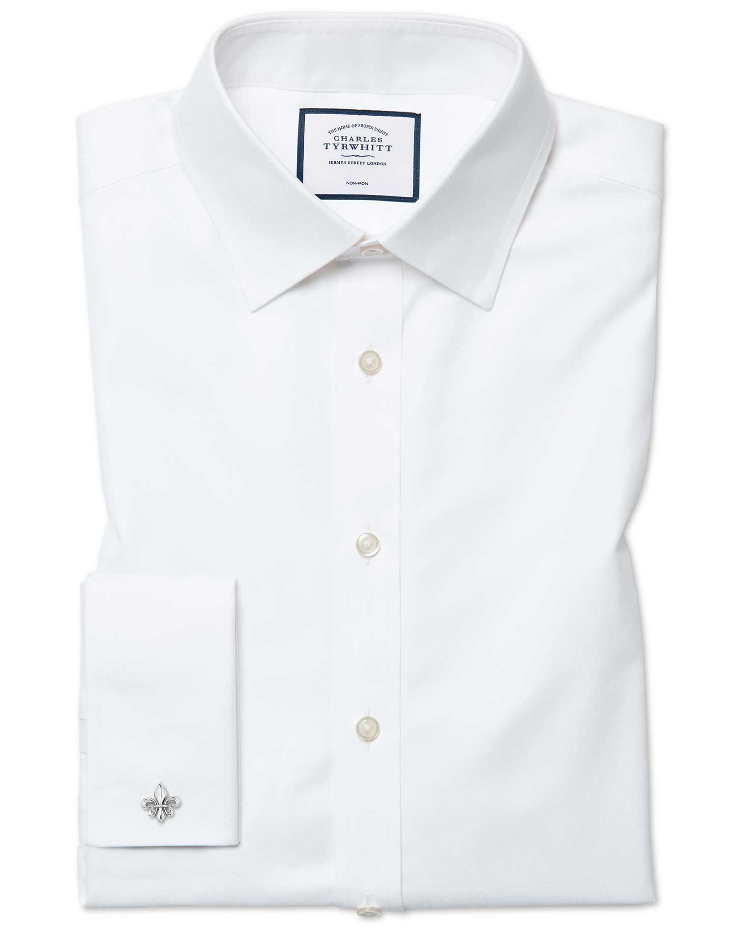 Extra Slim Fit Cutaway Non-Iron Twill White Cotton Formal Shirt Double Cuff Size 15/34 by Charles Ty