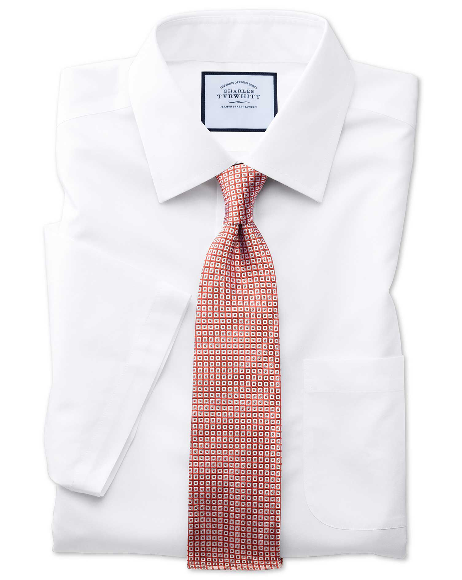 Classic Fit Non-Iron Poplin Short Sleeve White Cotton Formal Shirt Size 17.5/Short by Charles Tyrwhi