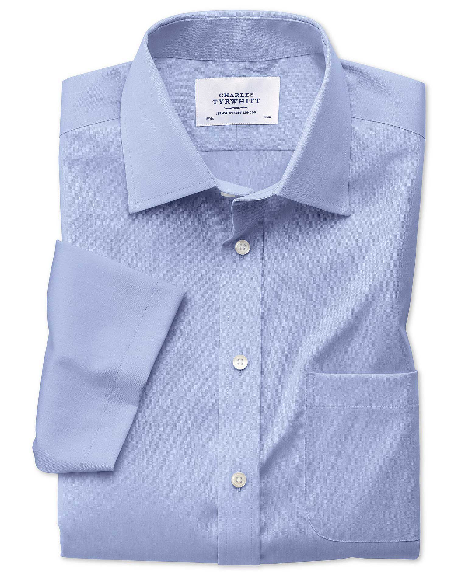 Classic Fit Non-Iron Pinpoint Short Sleeve Sky Blue Cotton Formal Shirt Size 17/Short by Charles Tyr