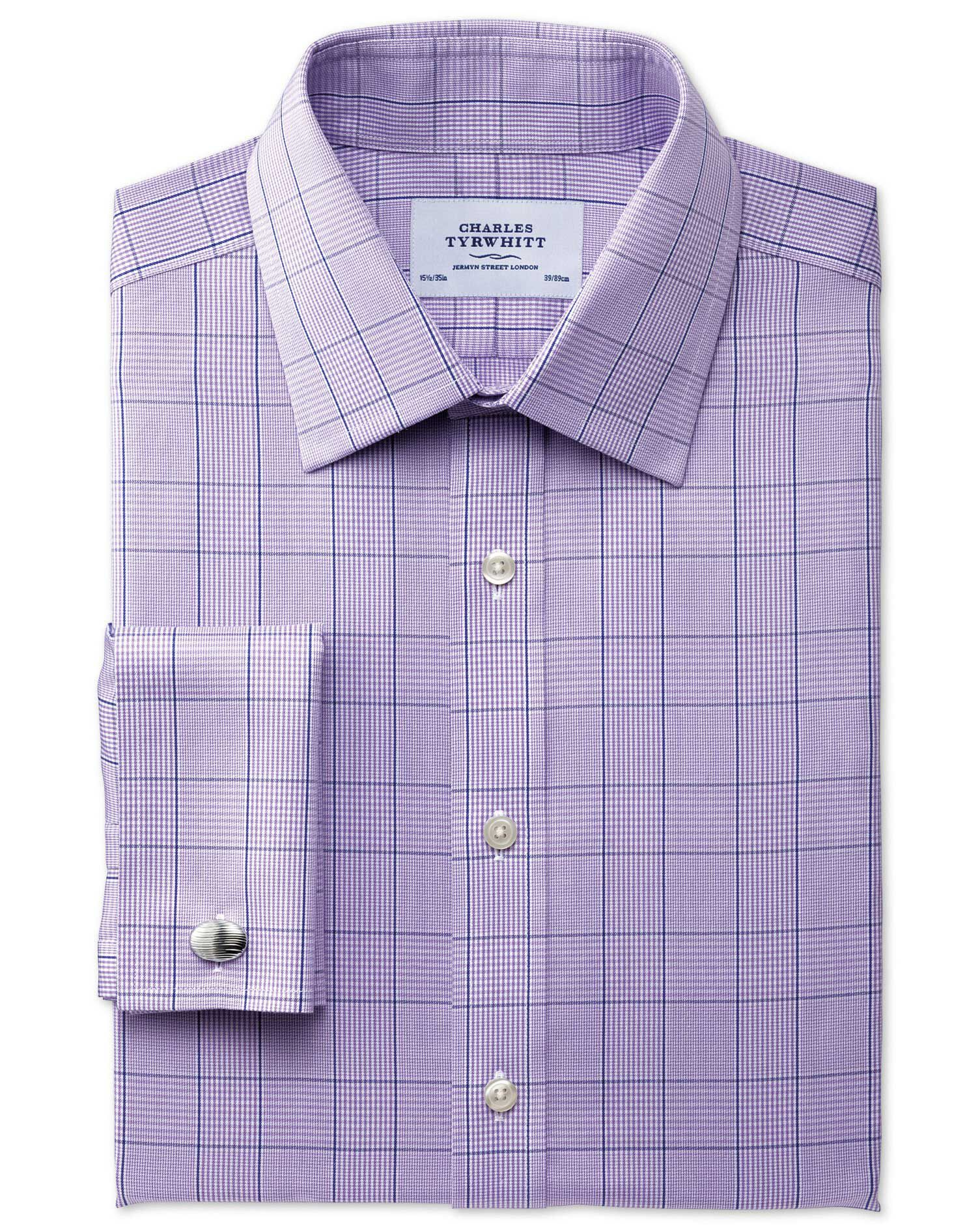 Slim Fit Non-Iron Prince Of Wales Lilac Cotton Formal Shirt Single Cuff Size 17.5/35 by Charles Tyrw