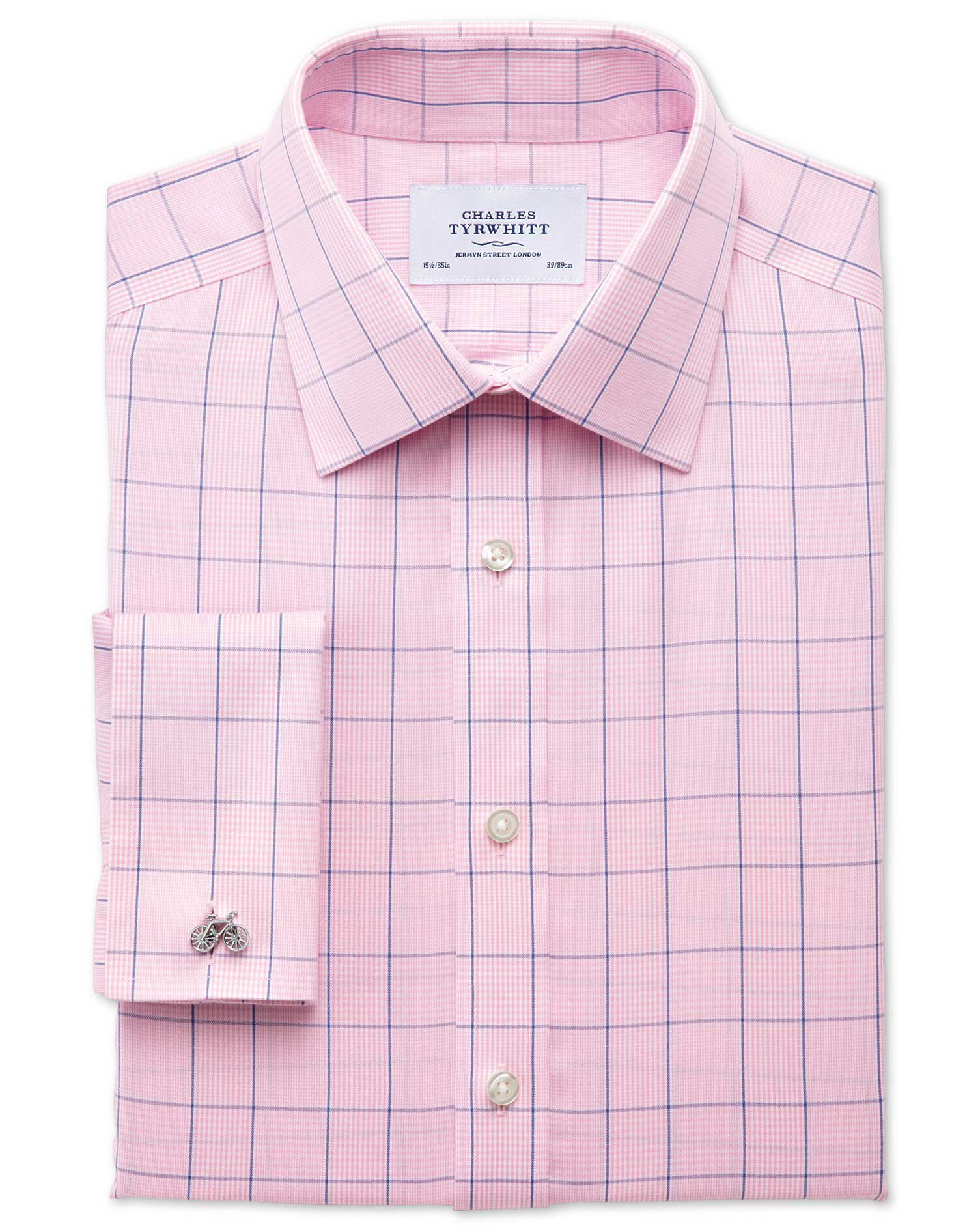 Slim Fit Non-Iron Prince Of Wales Check Pink and Blue Cotton Formal Shirt Single Cuff Size 16/36 by