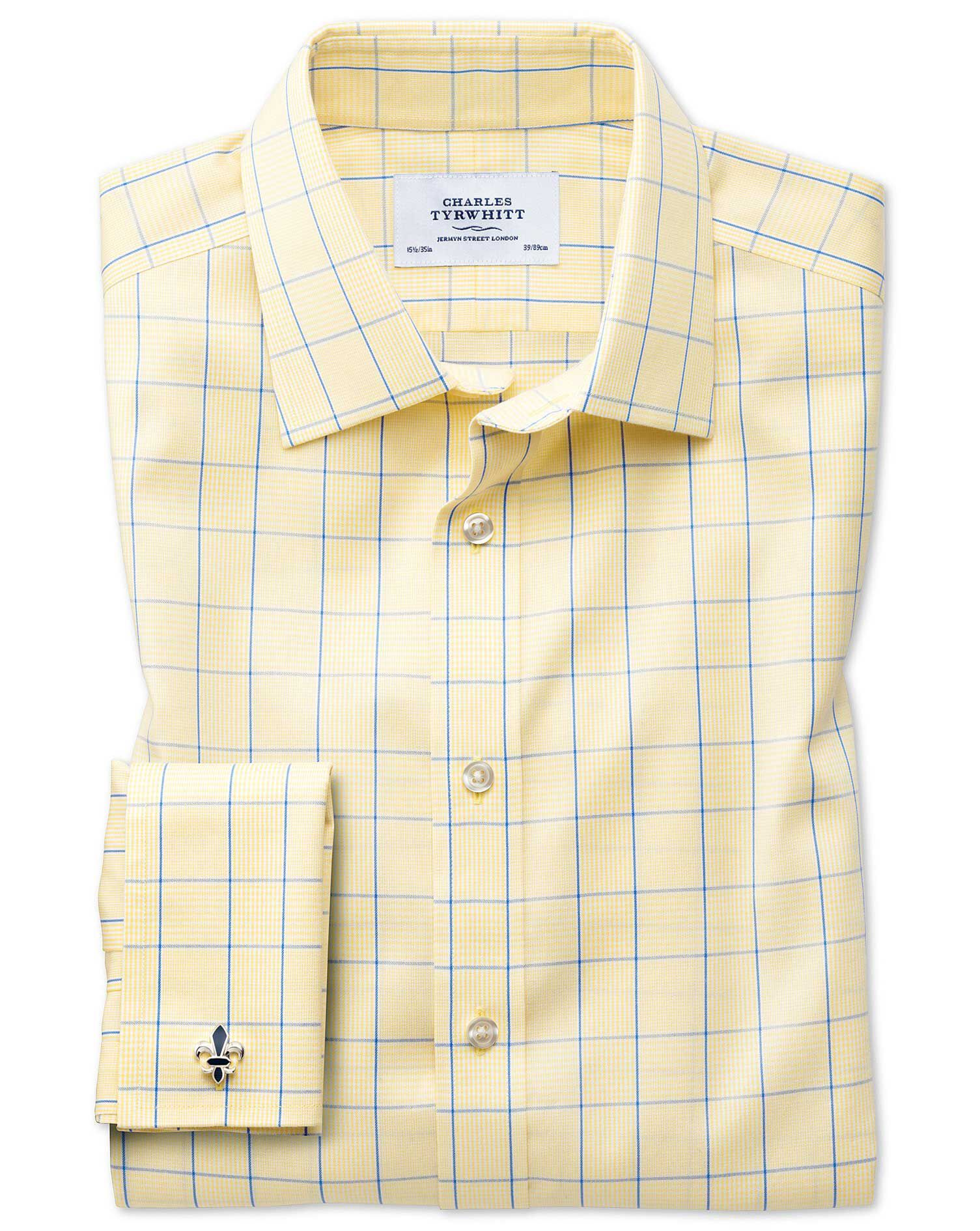 Slim Fit Non-Iron Prince Of Wales Yellow and Royal Blue Cotton Formal Shirt Double Cuff Size 15.5/36