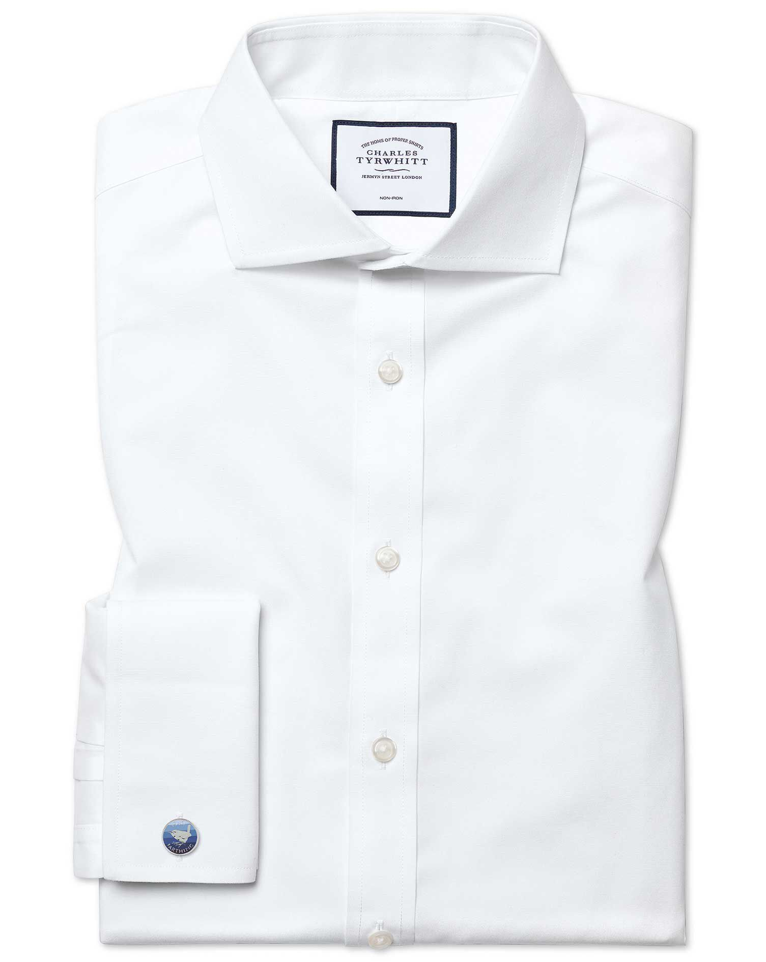 Classic Fit Cutaway Non-Iron Poplin White Cotton Formal Shirt Single Cuff Size 15/35 by Charles Tyrw