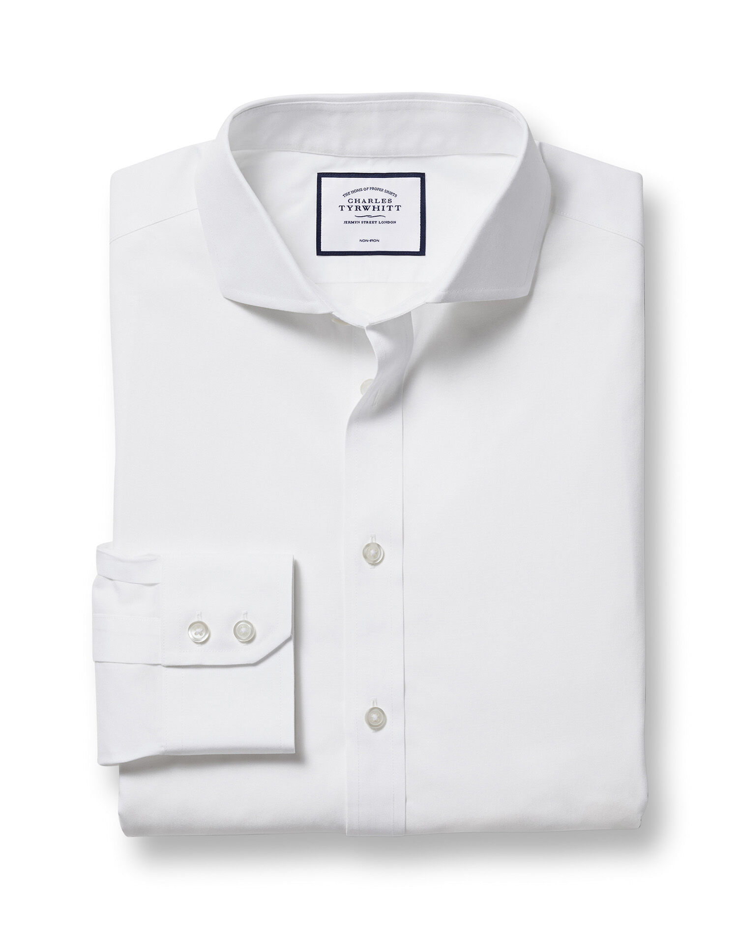 Slim Fit Cutaway Non-Iron Poplin White Cotton Formal Shirt Single Cuff Size 14.5/33 by Charles Tyrwh