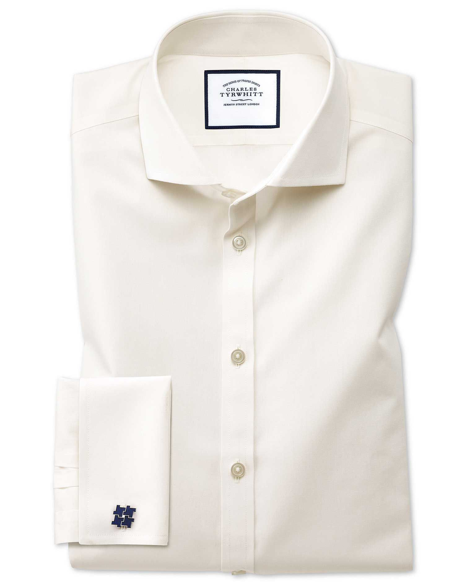 Extra Slim Fit Cutaway Non-Iron Poplin Cream Cotton Formal Shirt Double Cuff Size 15.5/34 by Charles