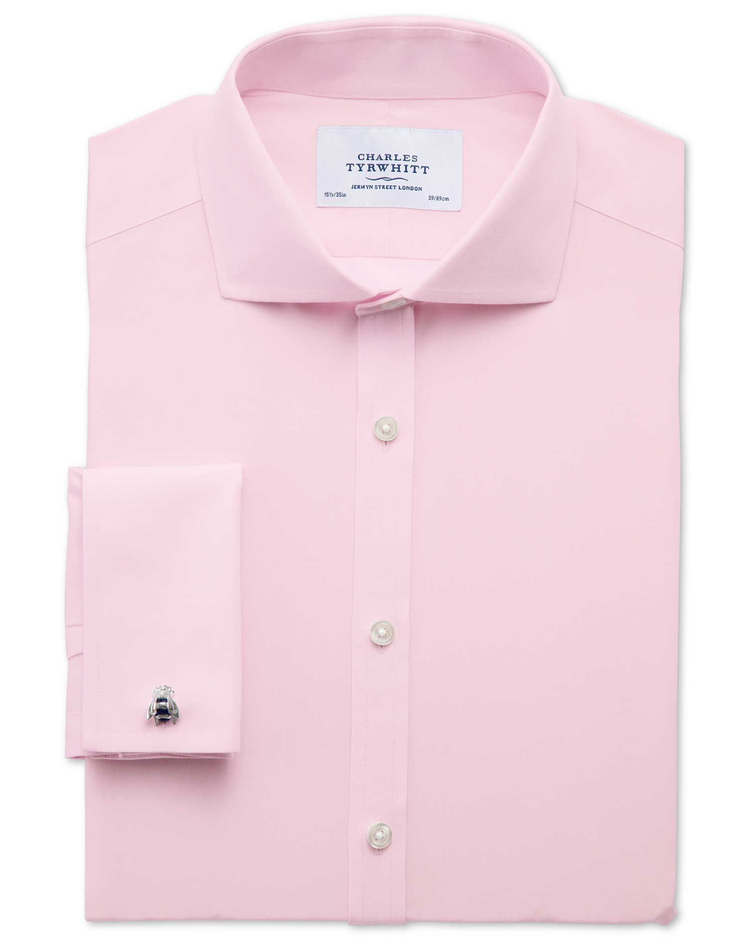 Extra Slim Fit Cutaway Collar Non-Iron Poplin Light Pink Cotton Formal Shirt Double Cuff Size 15.5/3