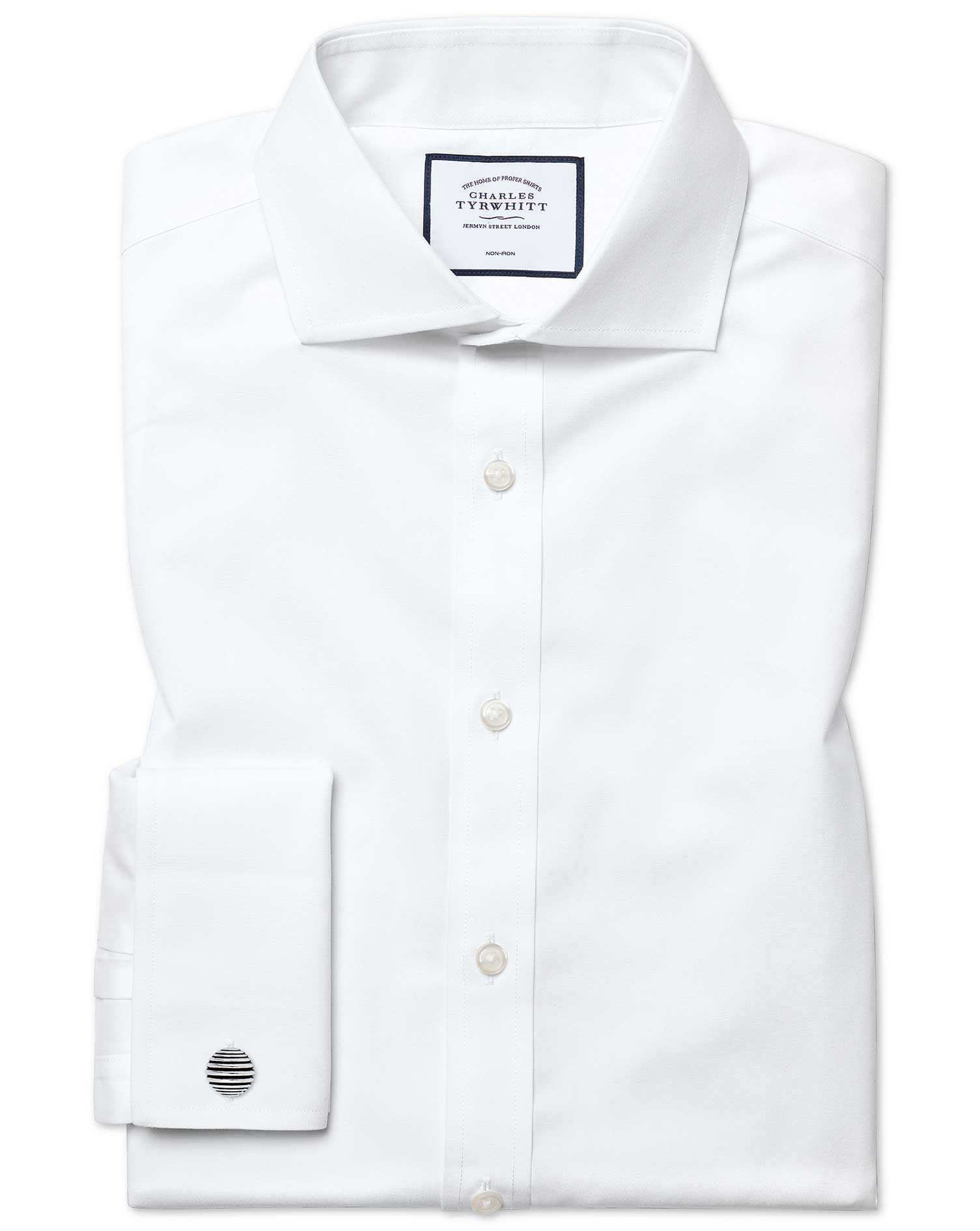 Extra Slim Fit Cutaway Non-Iron Poplin White Cotton Formal Shirt Single Cuff Size 16.5/38 by Charles