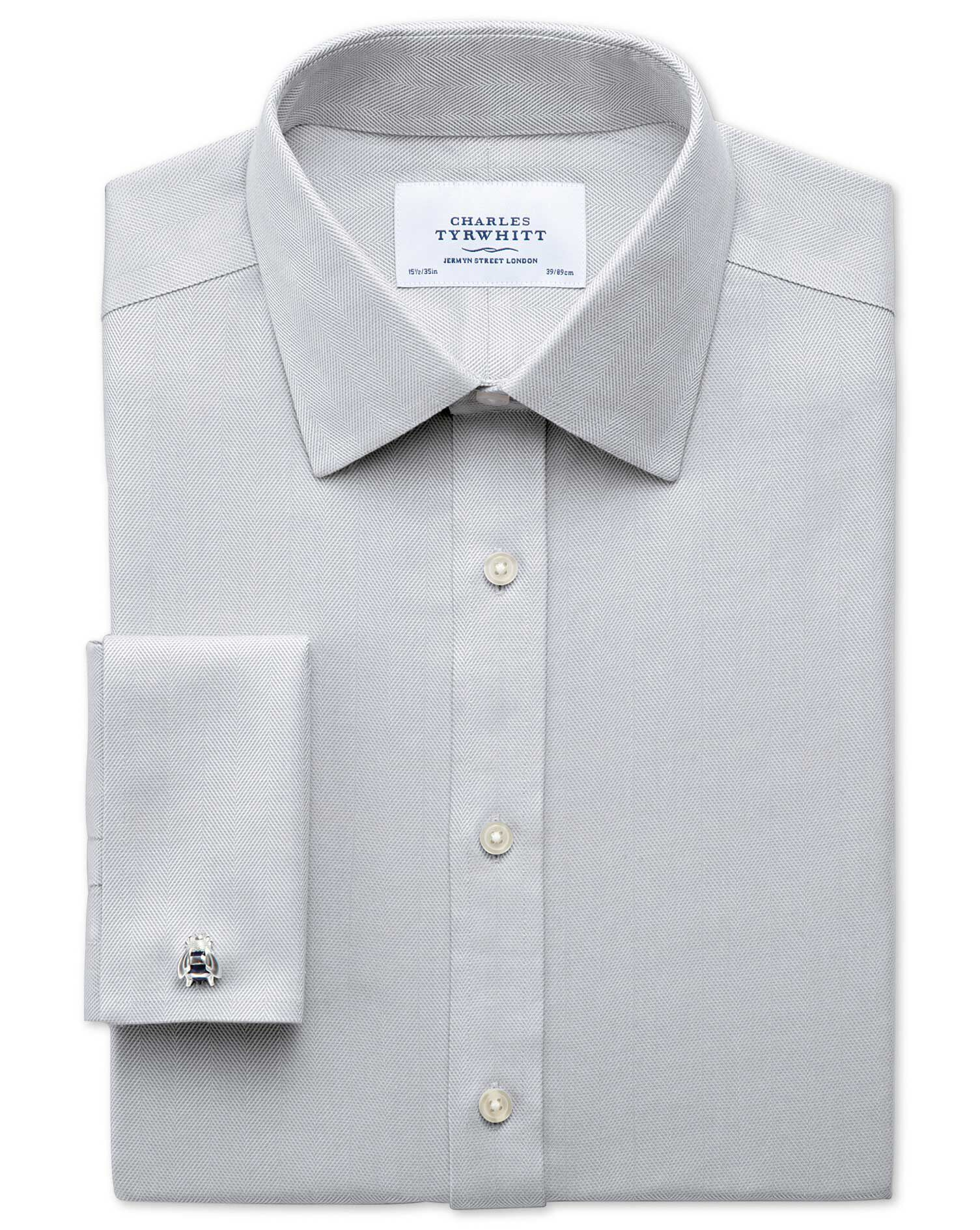 Classic Fit Non-Iron Herringbone Grey Cotton Formal Shirt Double Cuff Size 16/35 by Charles Tyrwhitt