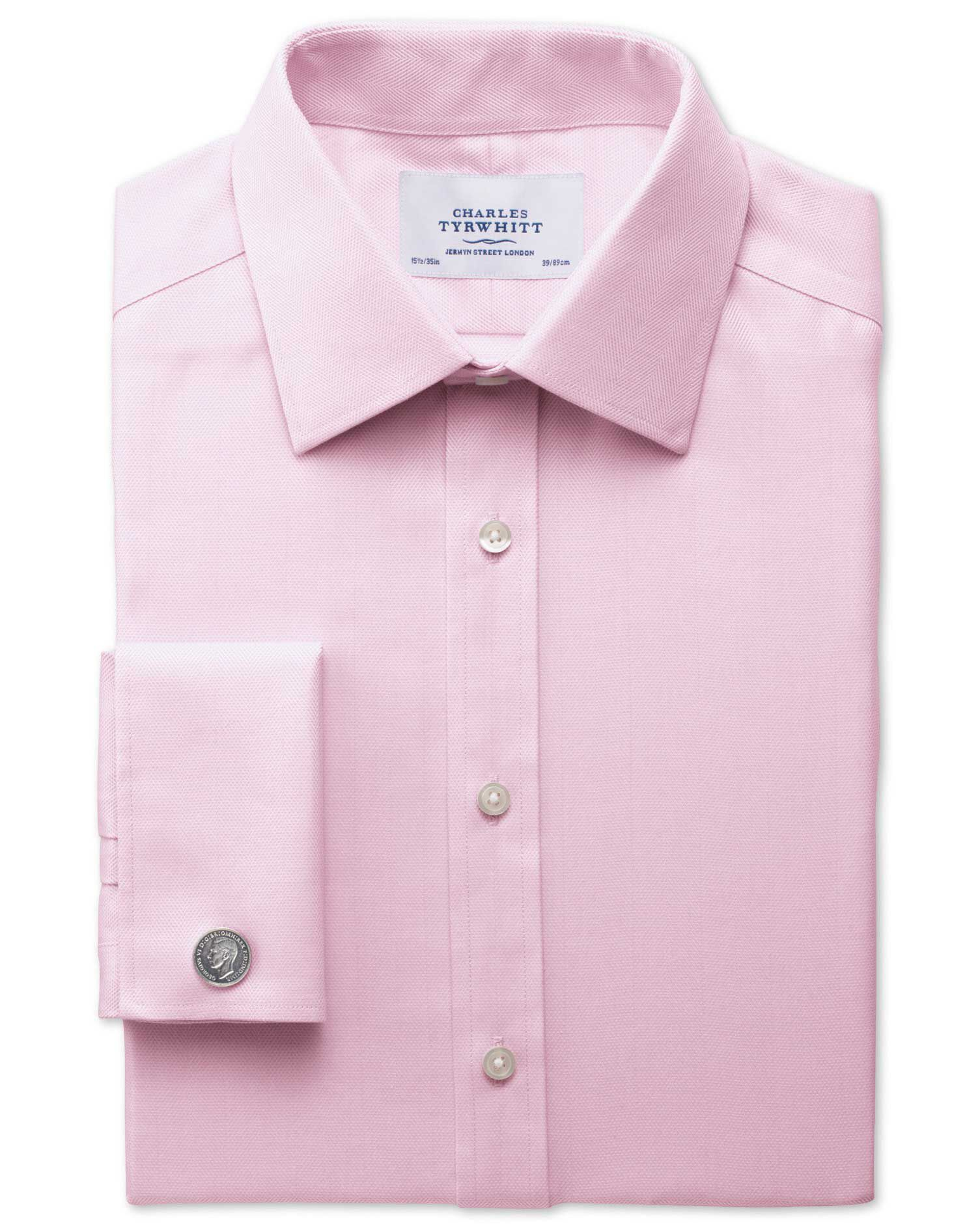 Classic Fit Non-Iron Herringbone Light Pink Cotton Formal Shirt Single Cuff Size 16/34 by Charles Ty