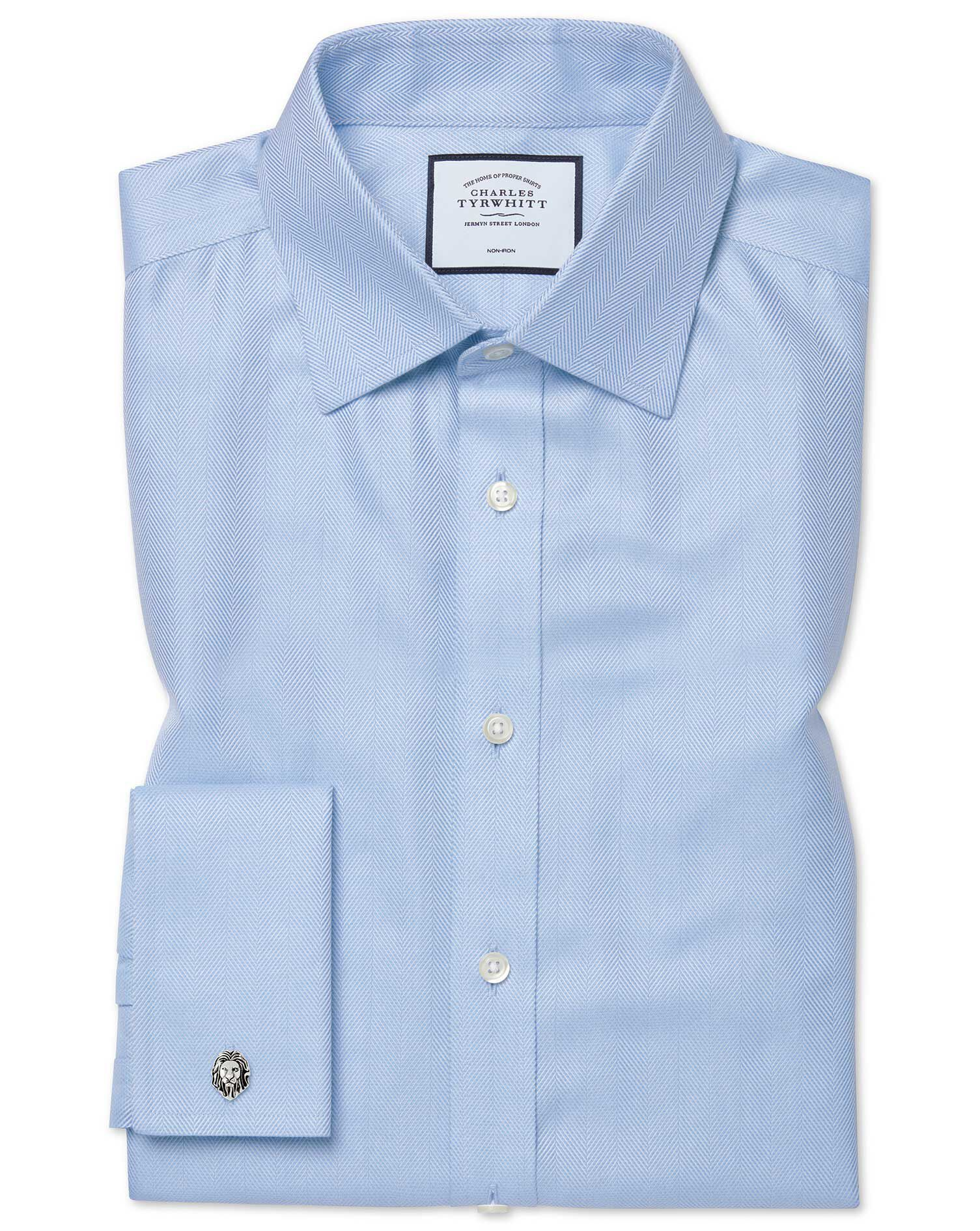 Classic Fit Non-Iron Herringbone Sky Blue Cotton Formal Shirt Single Cuff Size 17.5/35 by Charles Ty