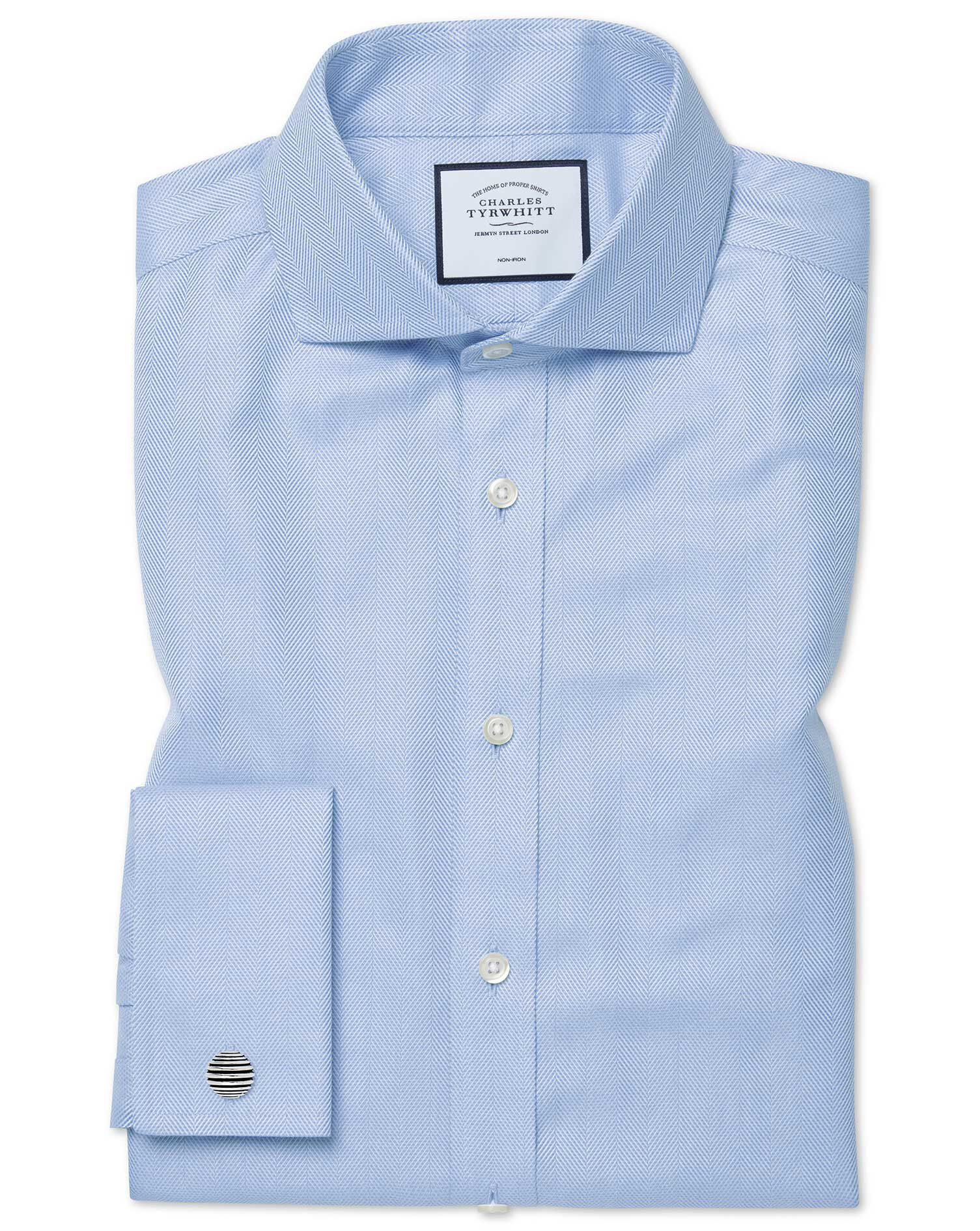 Slim Fit Cutaway Non-Iron Herringbone Sky Blue Cotton Formal Shirt Double Cuff Size 14.5/33 by Charl