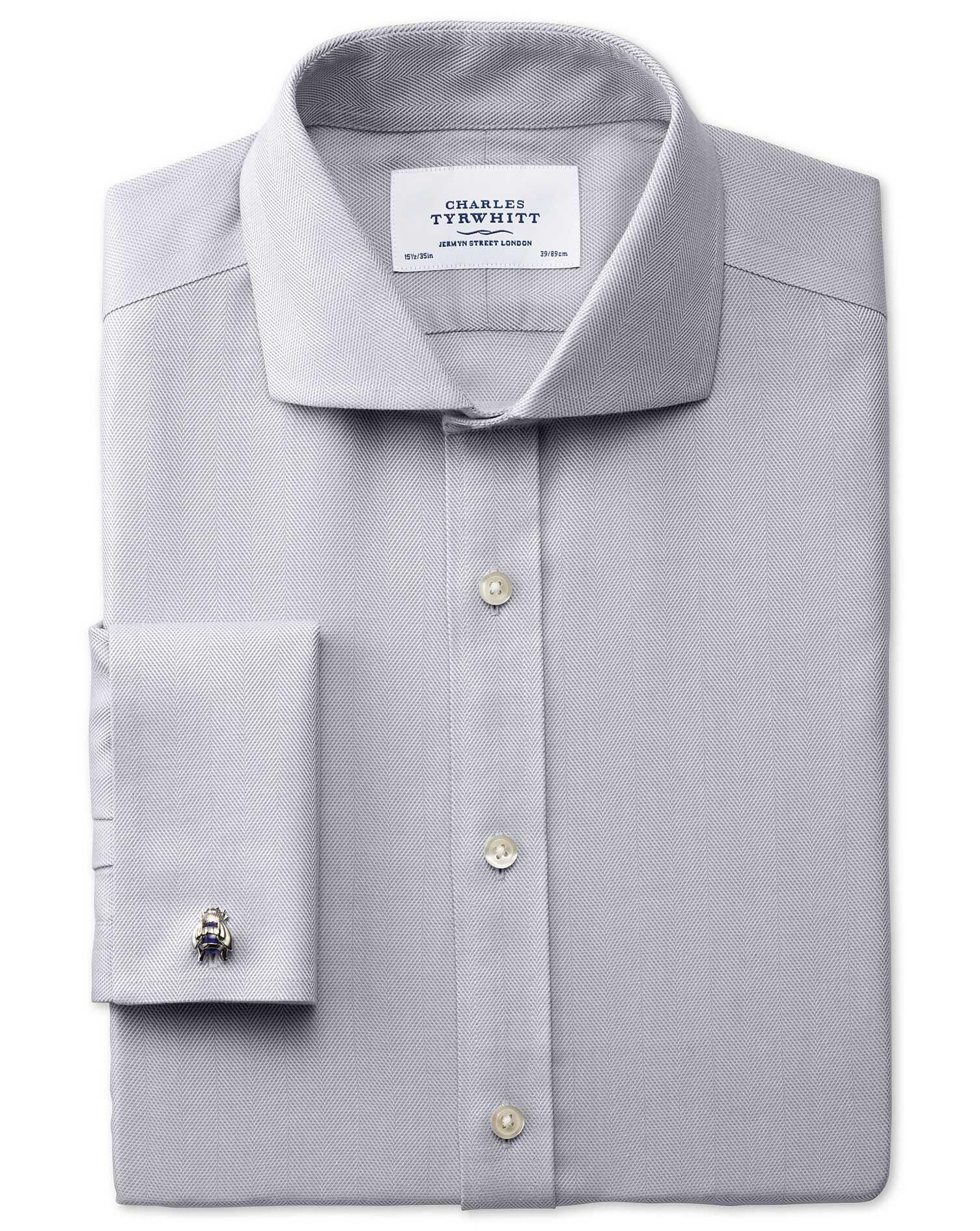 Extra Slim Fit Cutaway Collar Non-Iron Herringbone Grey Cotton Formal Shirt Double Cuff Size 16.5/33