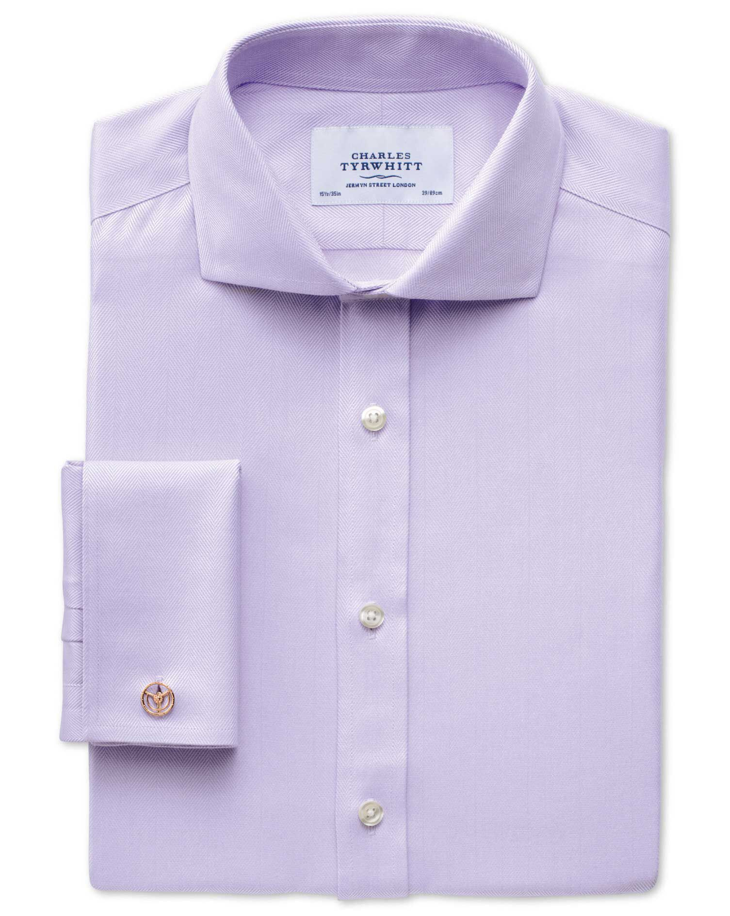 Extra Slim Fit Cutaway Collar Non-Iron Herringbone Lilac Cotton Formal Shirt Double Cuff Size 17/37