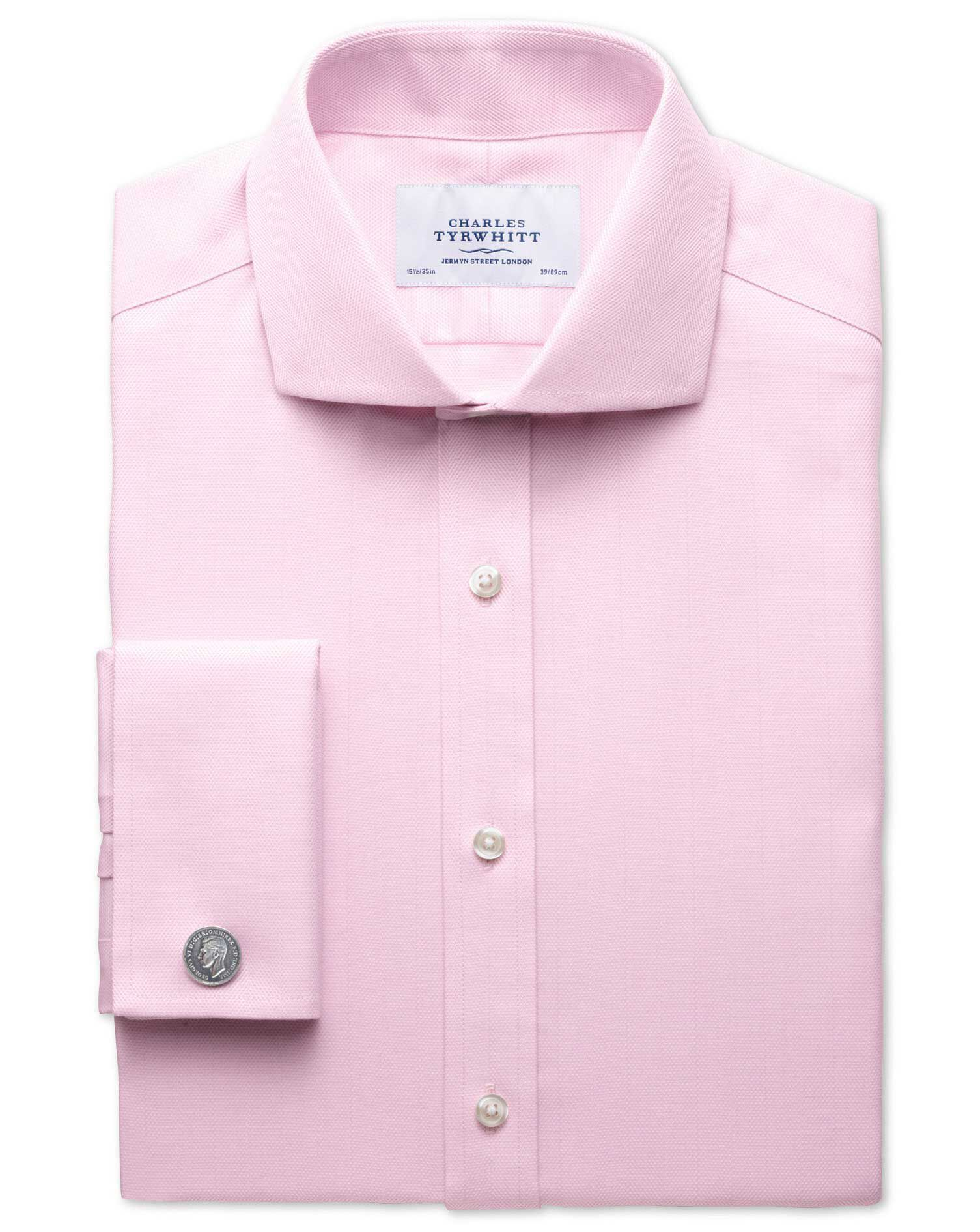 Extra Slim Fit Cutaway Collar Non-Iron Herringbone Light Pink Cotton Formal Shirt Double Cuff Size 1