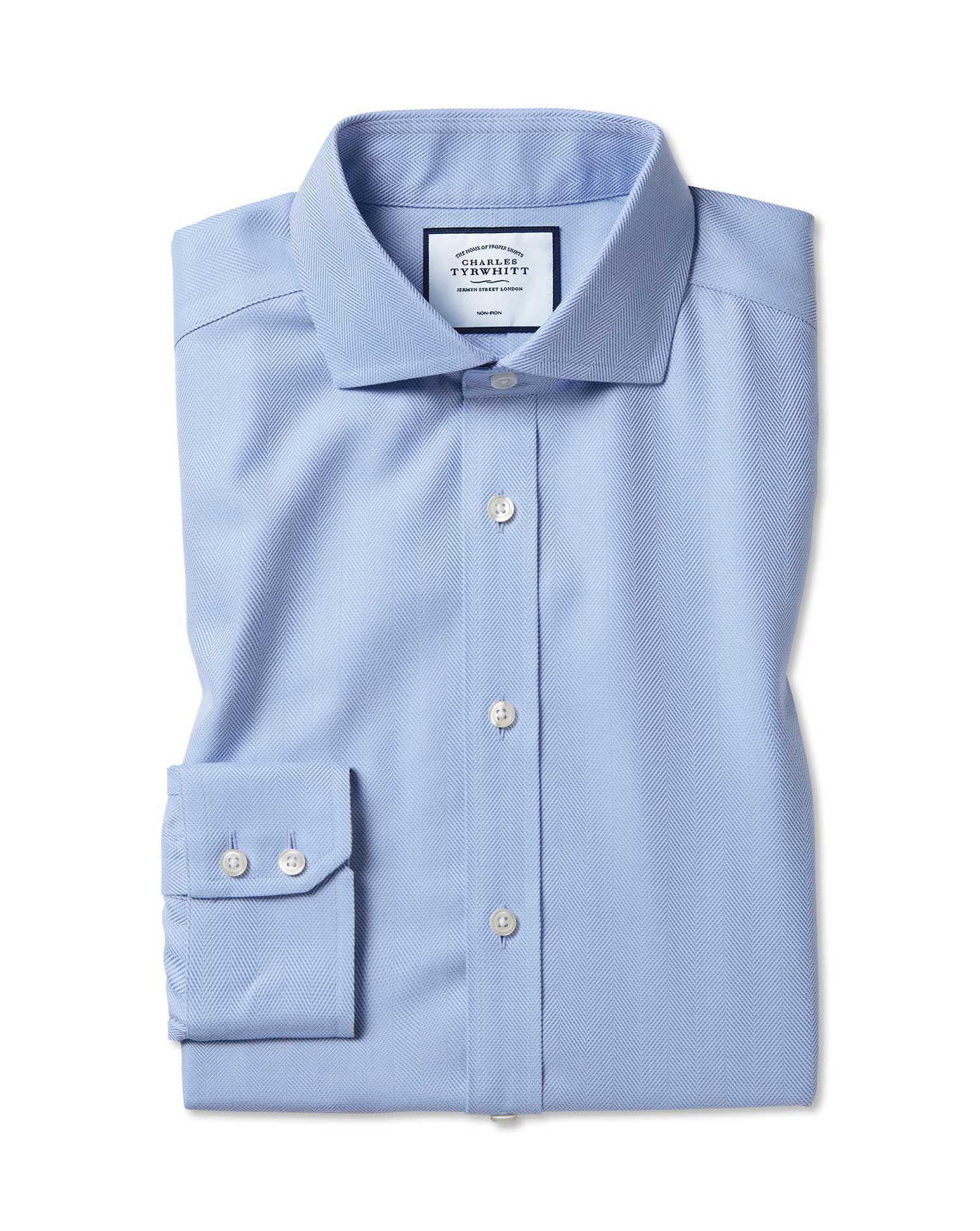 Extra Slim Fit Cutaway Collar Non-Iron Herringbone Sky Blue Cotton Formal Shirt Single Cuff Size 15.
