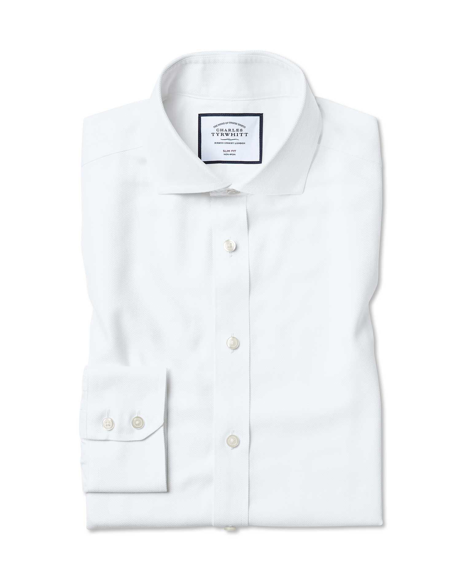 Extra Slim Fit Cutaway Collar Non-Iron Herringbone White Cotton Formal Shirt Double Cuff Size 15.5/3