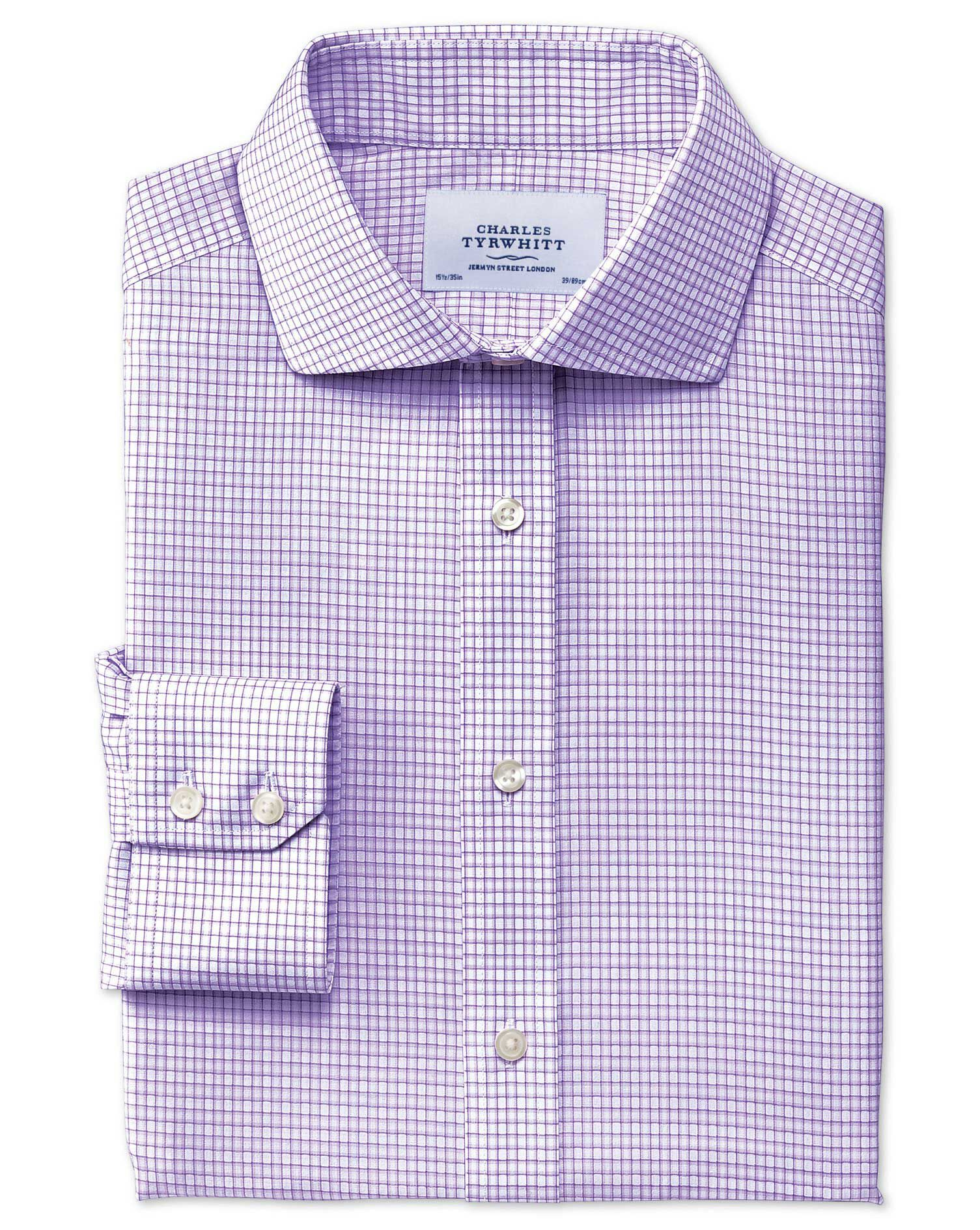 Charles Tyrwhitt Slim Fit Cutaway Collar Non-Iron Dobby Check Lilac Cotton Formal Shirt Size 15/35