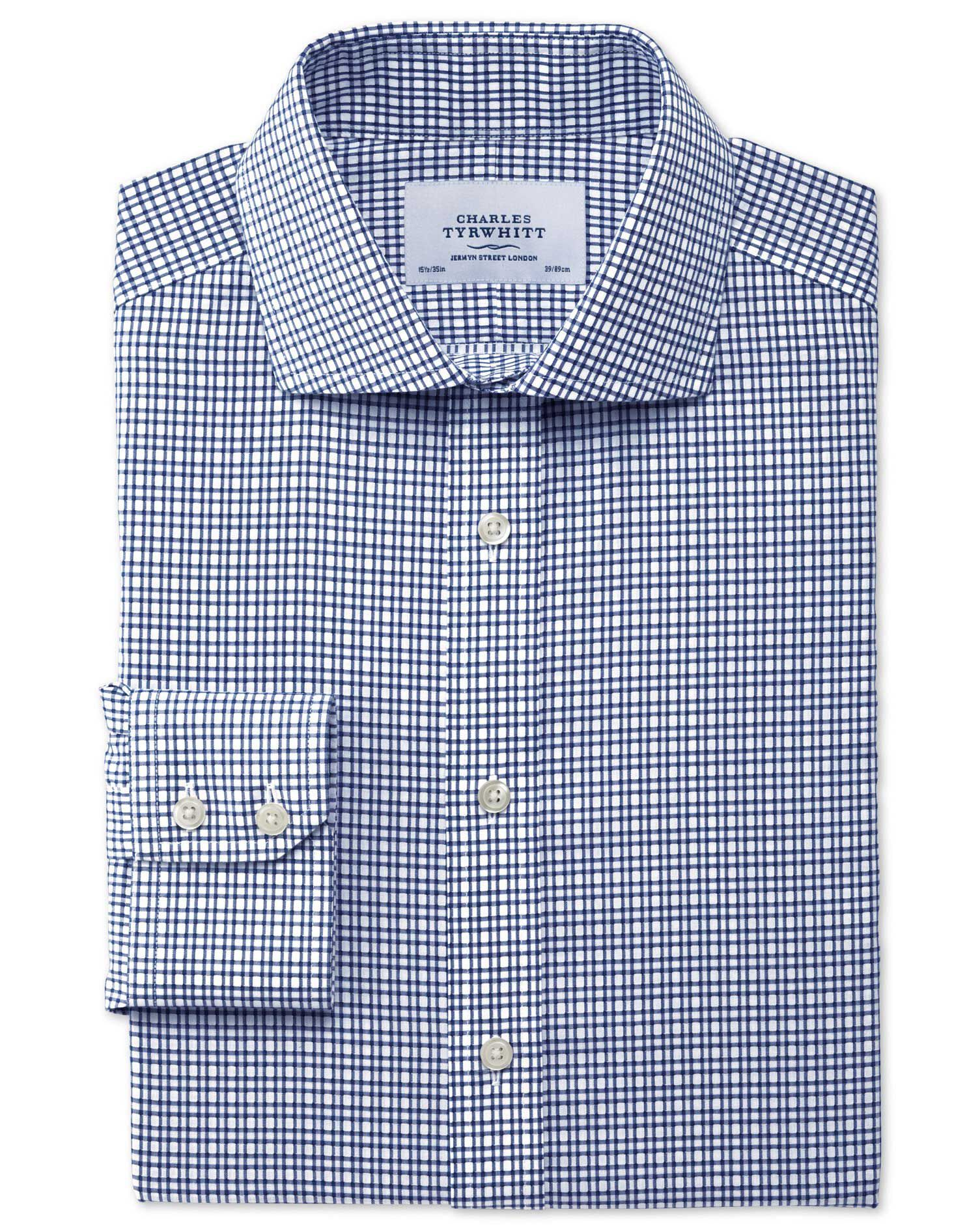 Slim Fit Cutaway Collar Non-Iron Dobby Check Navy Cotton Formal Shirt Single Cuff Size 18/36 by Char