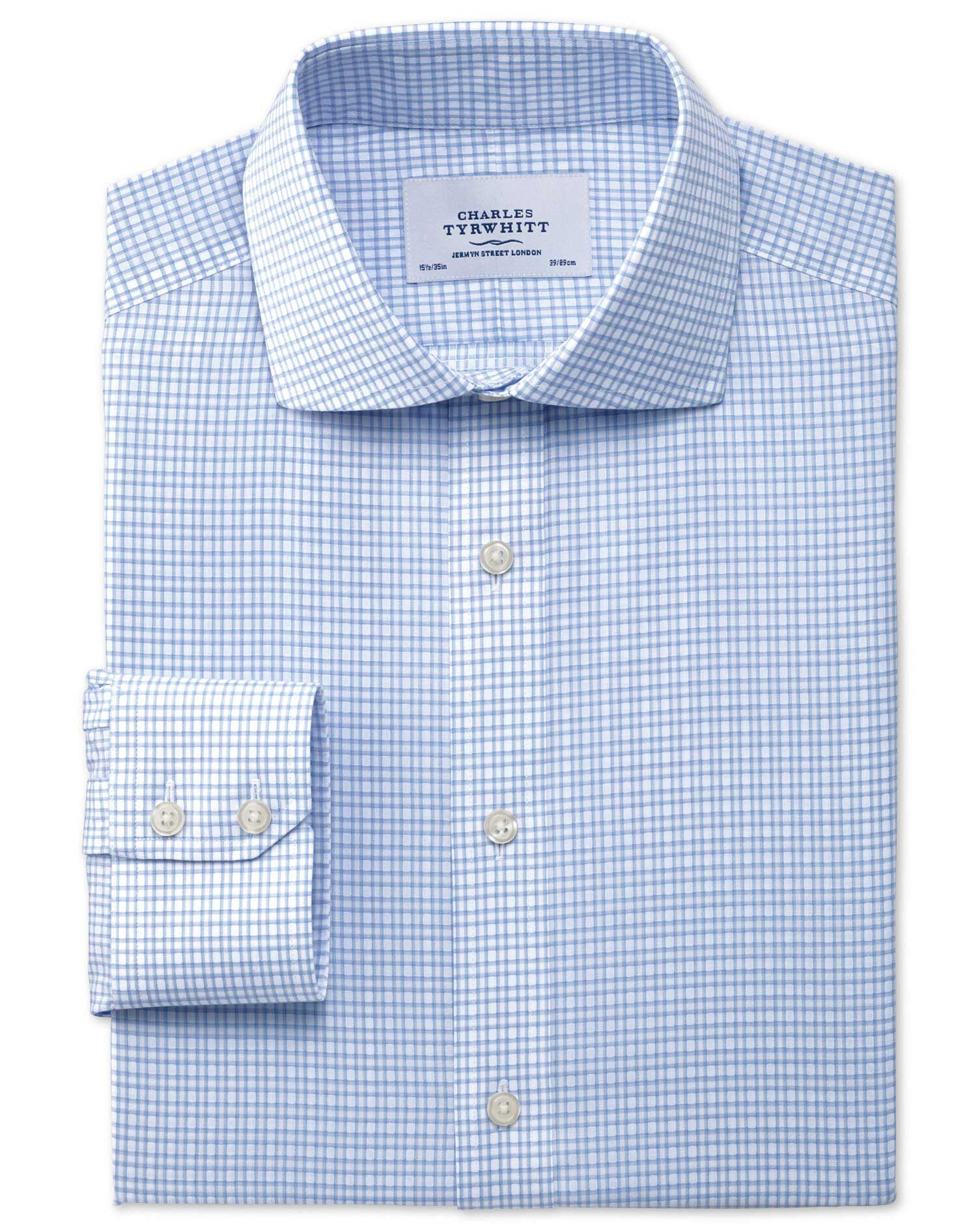 Extra Slim Fit Cutaway Collar Non-Iron Dobby Check Sky Blue Cotton Formal Shirt Single Cuff Size 15.