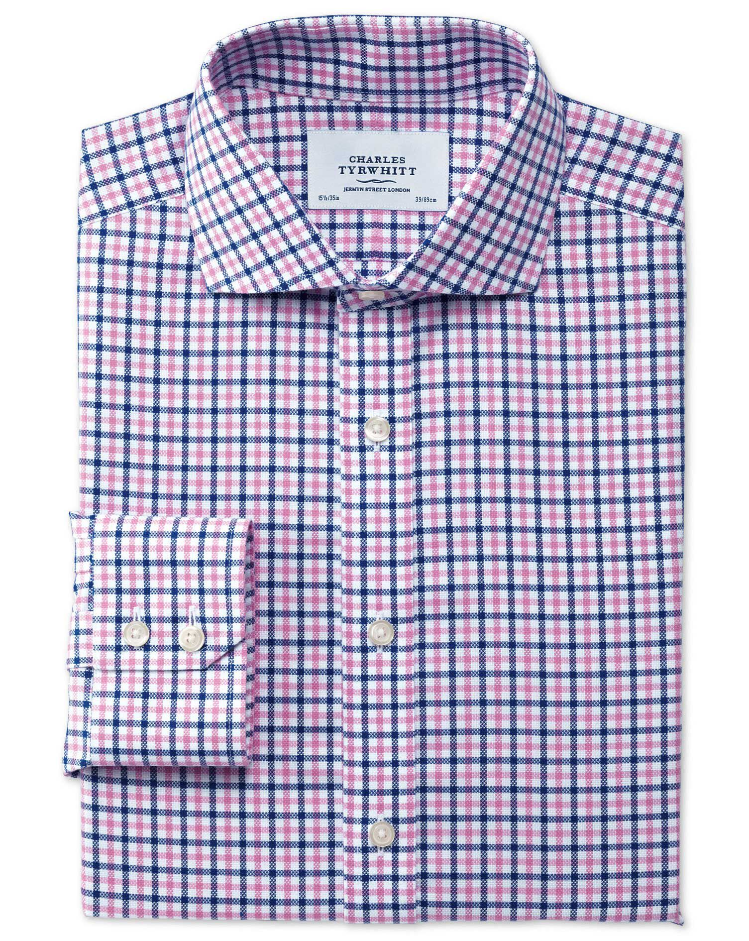 Slim Fit Cutaway Collar Non-Iron Royal Oxford Check Blue and Pink Cotton Formal Shirt Single Cuff Si