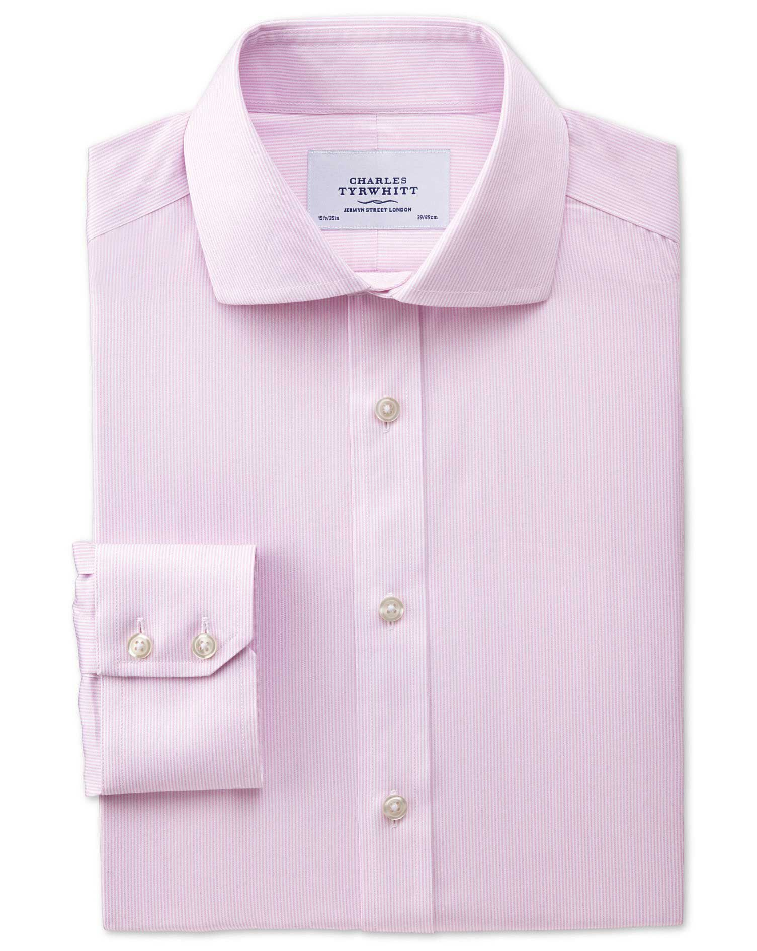 Slim Fit Cutaway Collar Non-Iron Mouline Stripe Pink Cotton Formal Shirt Single Cuff Size 16.5/38 by