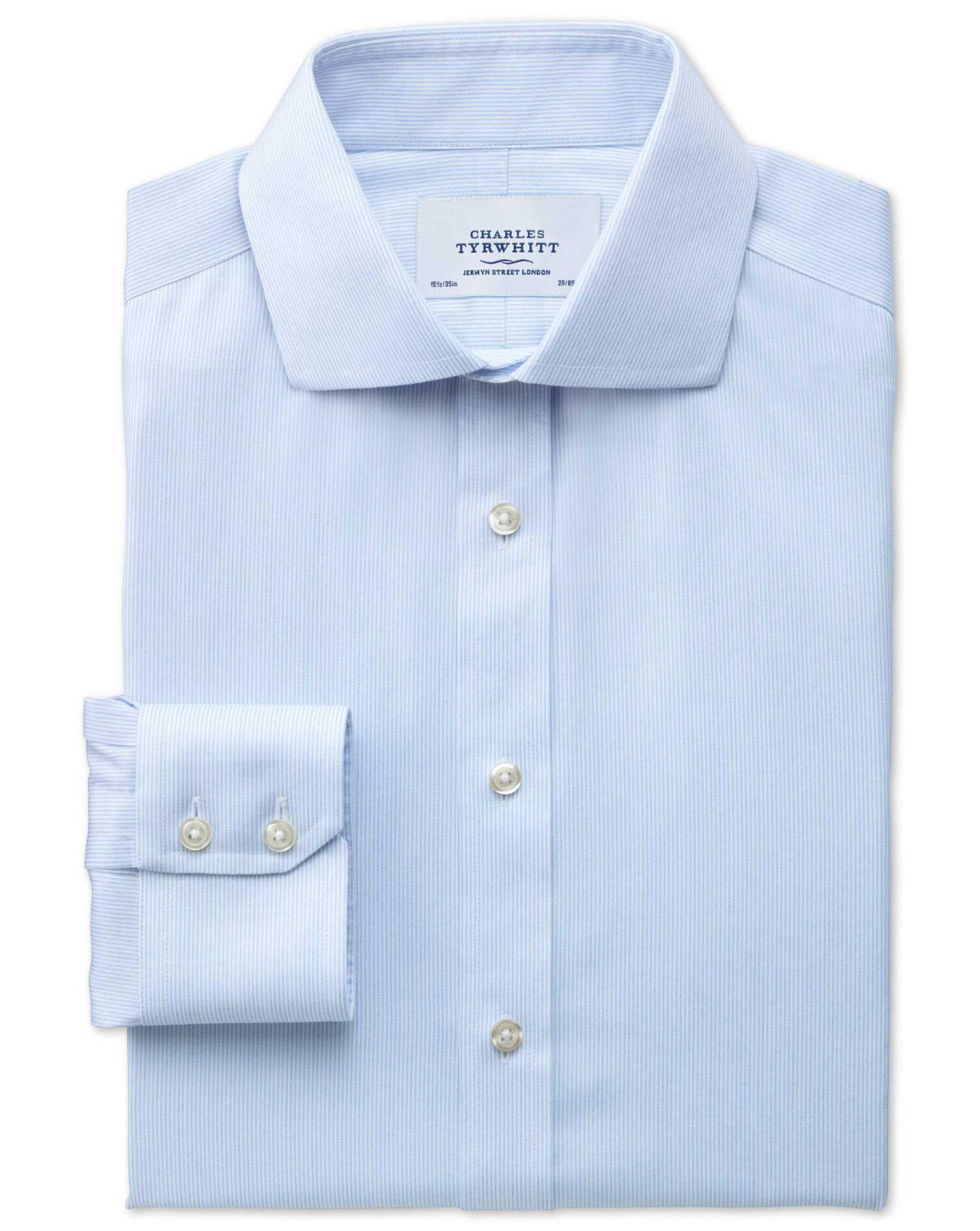Slim Fit Cutaway Collar Non-Iron Mouline Stripe Sky Blue Cotton Formal Shirt Single Cuff Size 18/35