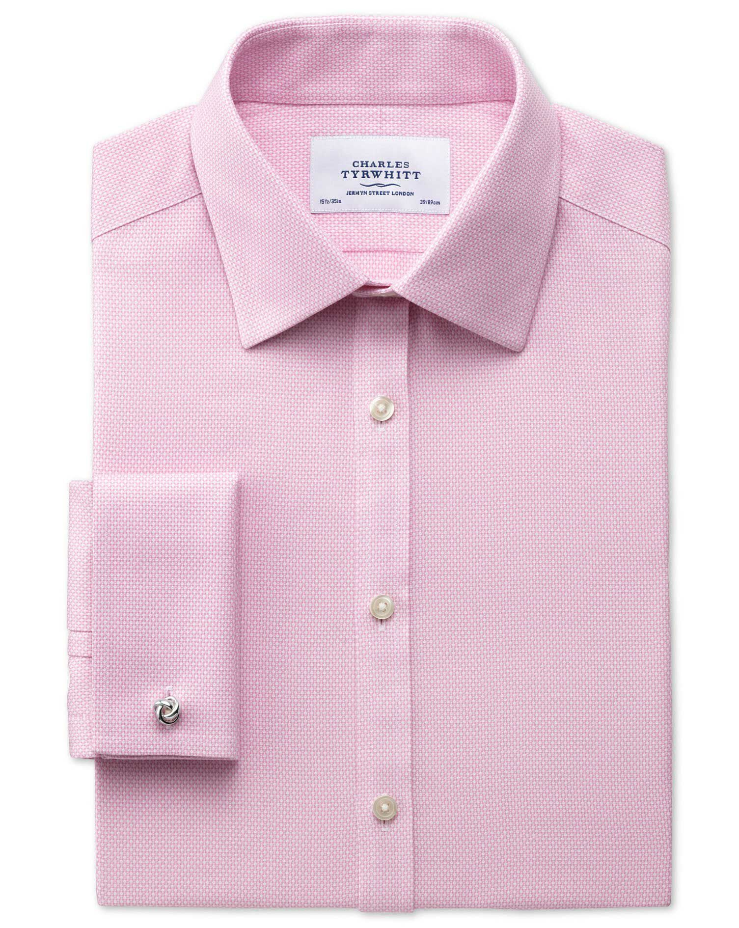 Classic Fit Non-Iron Honeycomb Pink Cotton Formal Shirt Double Cuff Size 17/37 by Charles Tyrwhitt