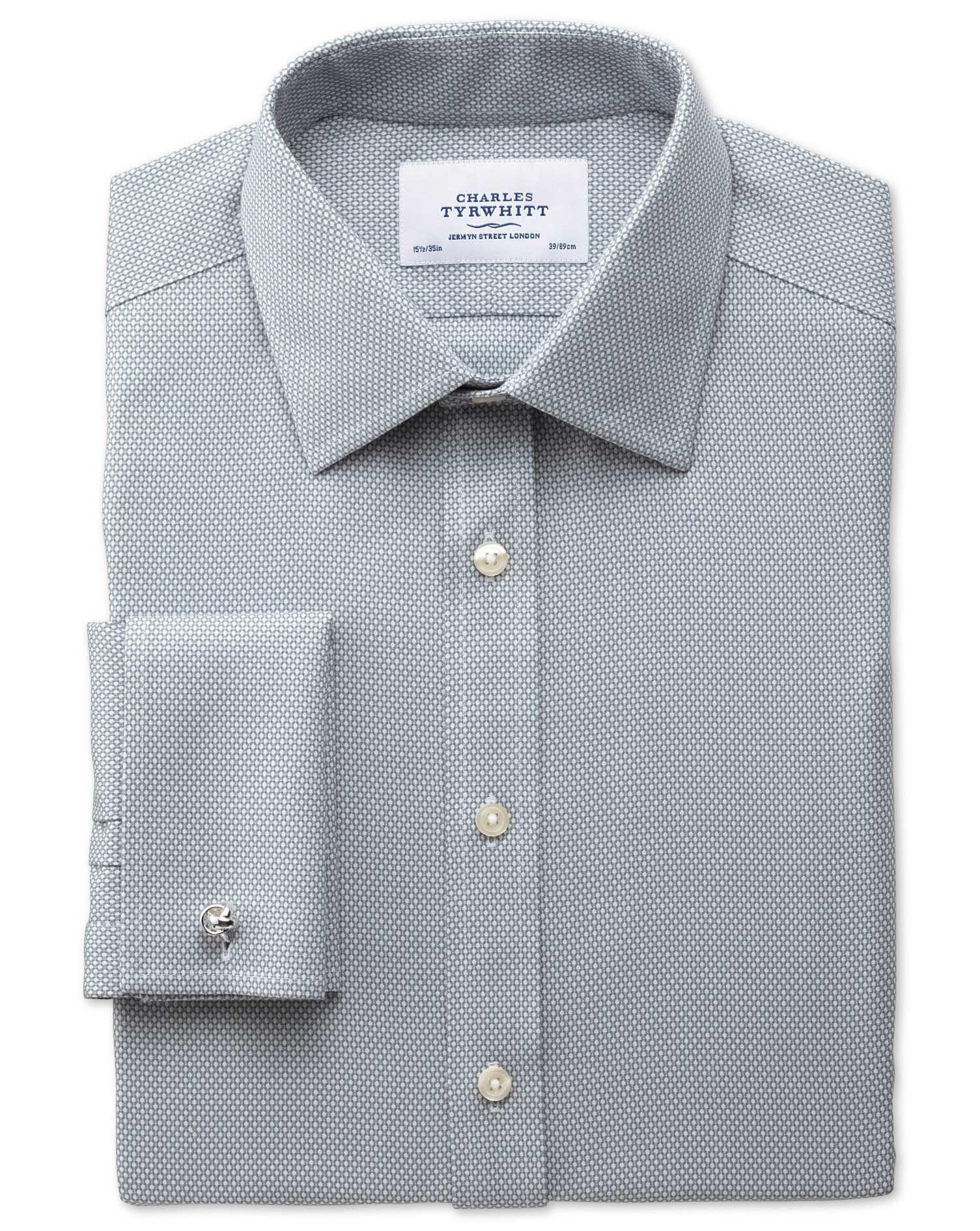 Slim Fit Non-Iron Honeycomb Grey Cotton Formal Shirt Double Cuff Size 16/38 by Charles Tyrwhitt