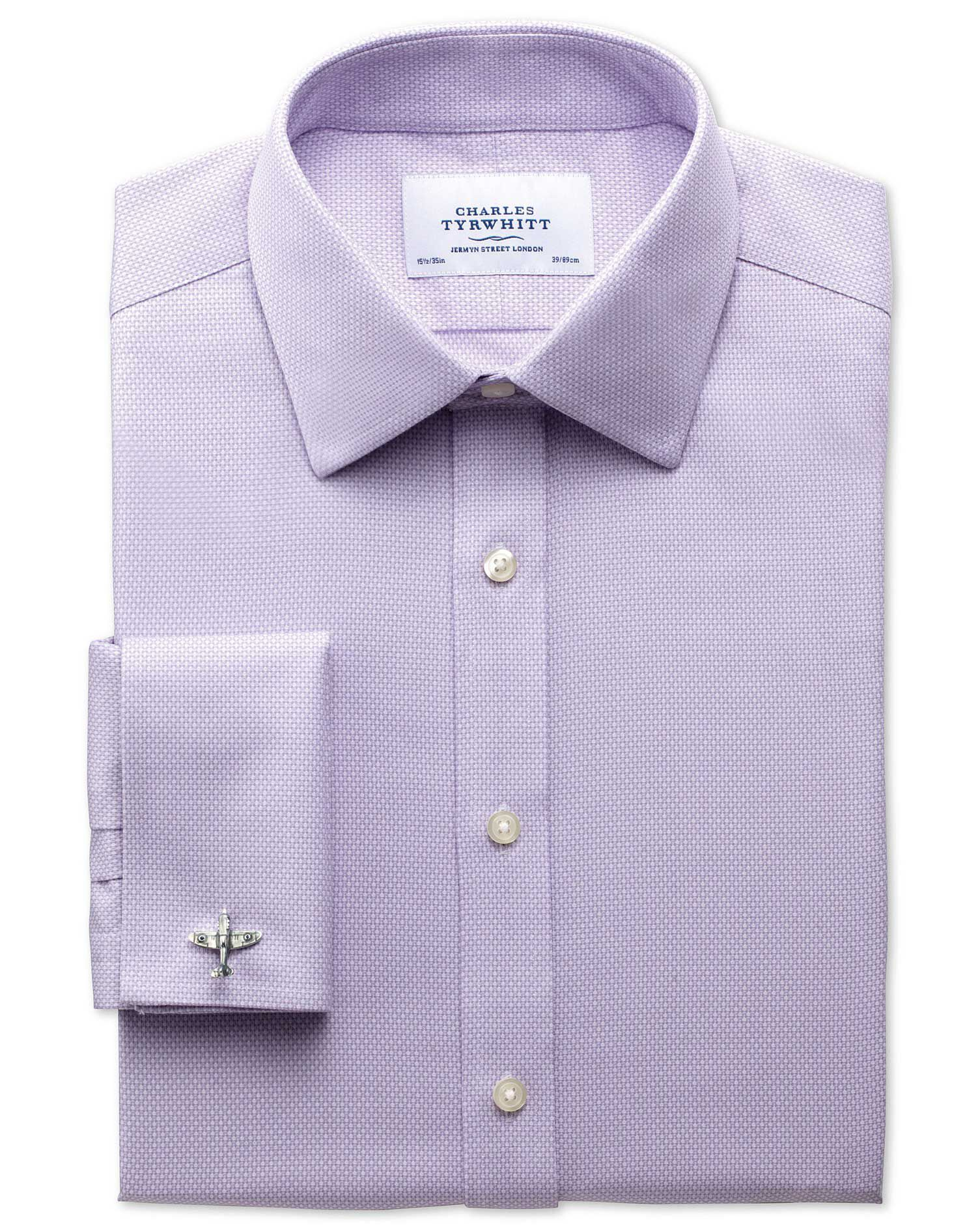 Slim Fit Non-Iron Honeycomb Lilac Cotton Formal Shirt Double Cuff Size 17/37 by Charles Tyrwhitt