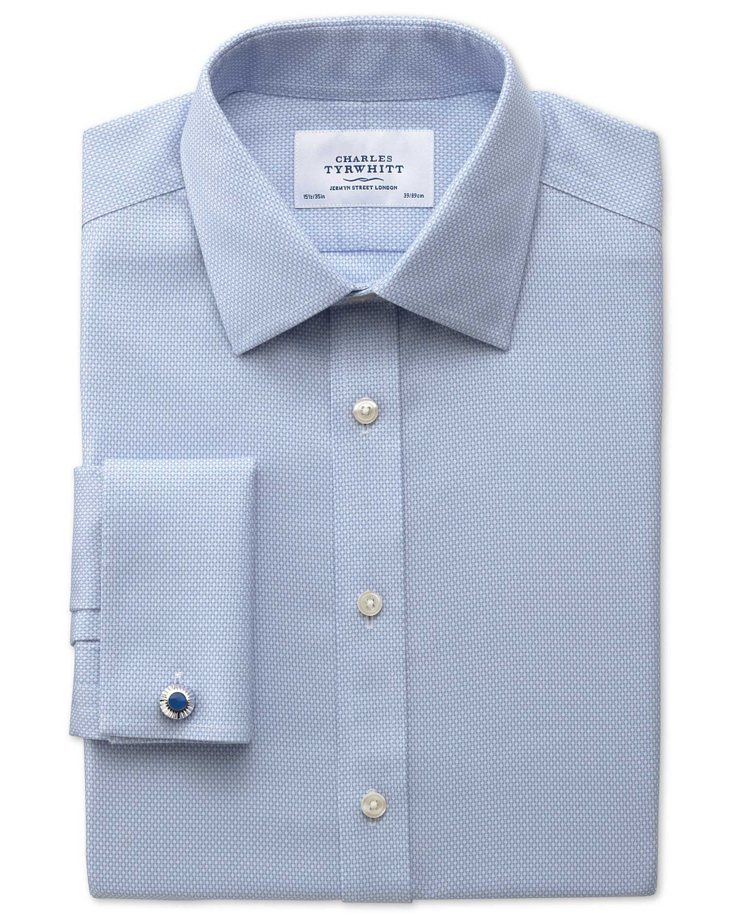 Slim Fit Non-Iron Honeycomb Sky Blue Cotton Formal Shirt Double Cuff Size 15/35 by Charles Tyrwhitt