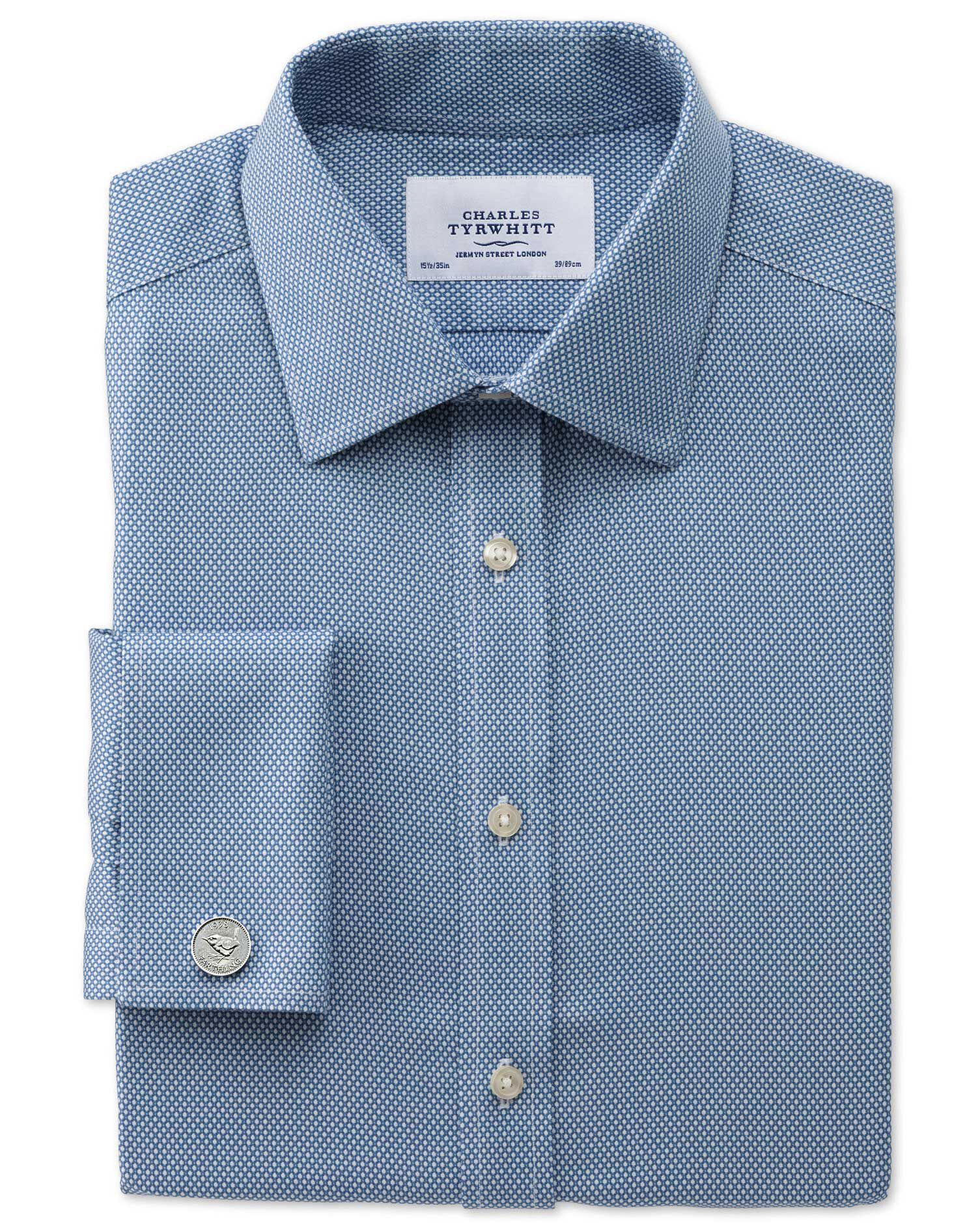 Extra Slim Fit Non-Iron Honeycomb Mid Blue Cotton Formal Shirt Single Cuff Size 15/35 by Charles Tyr