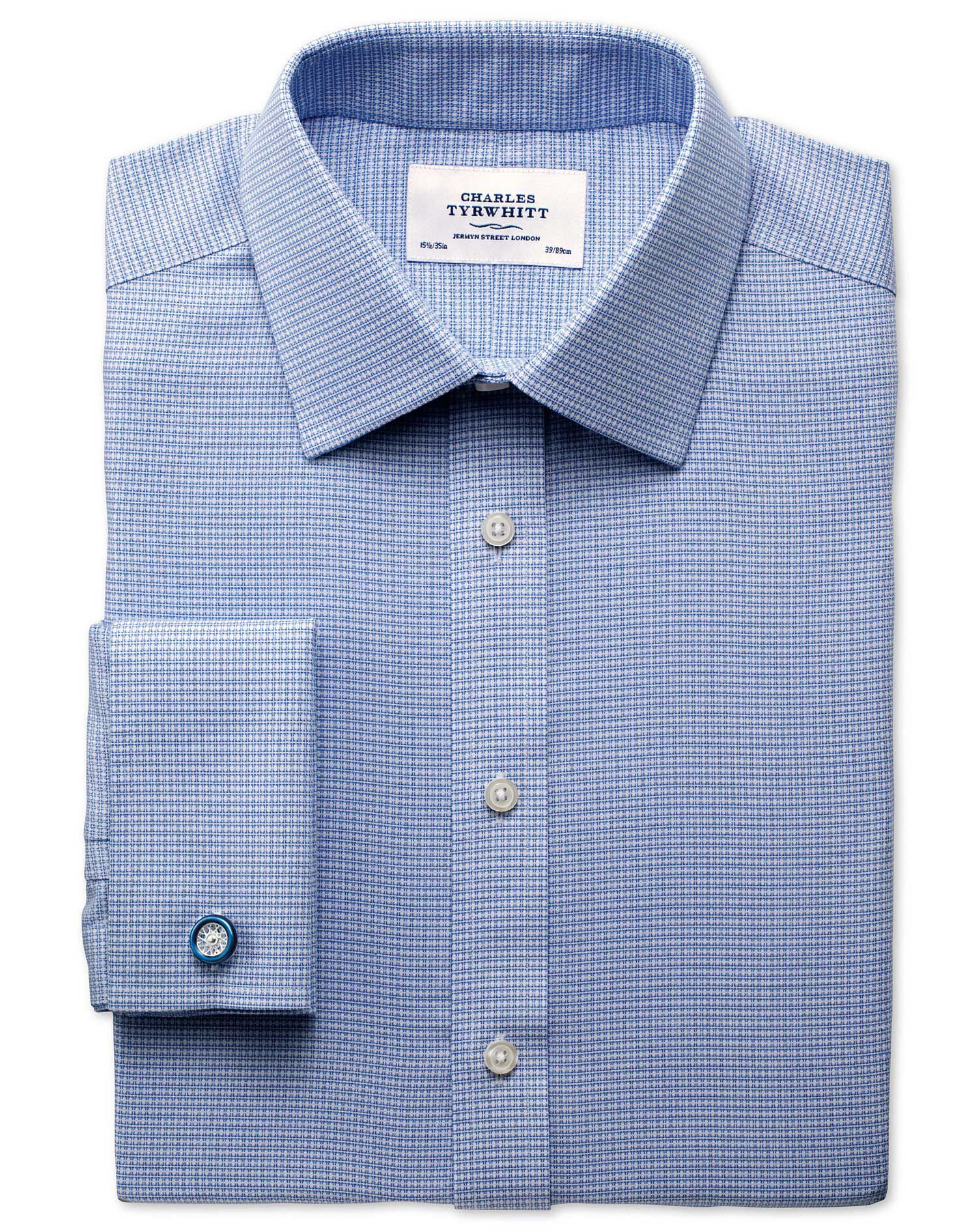 Classic Fit Non-Iron Square Textured Mid Blue Cotton Formal Shirt Single Cuff Size 15.5/37 by Charle