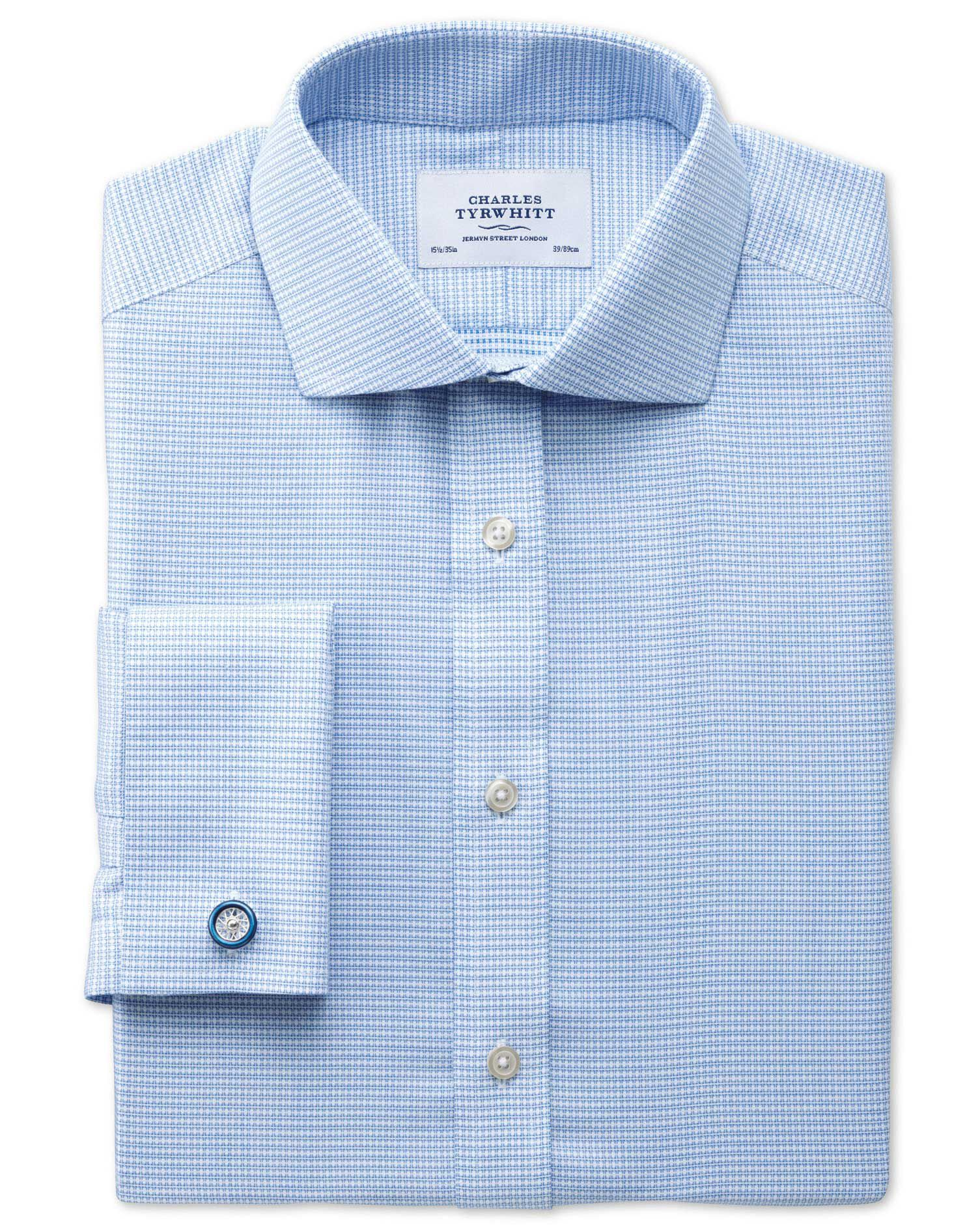 Extra Slim Fit Cutaway Collar Non-Iron Square Textured Mid Blue Cotton Formal Shirt Double Cuff Size